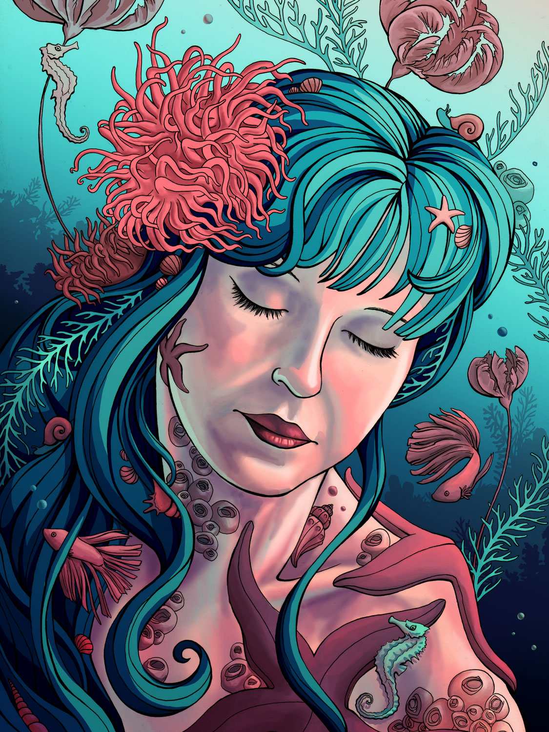 The Sea Queen  Ink and digital, 2017