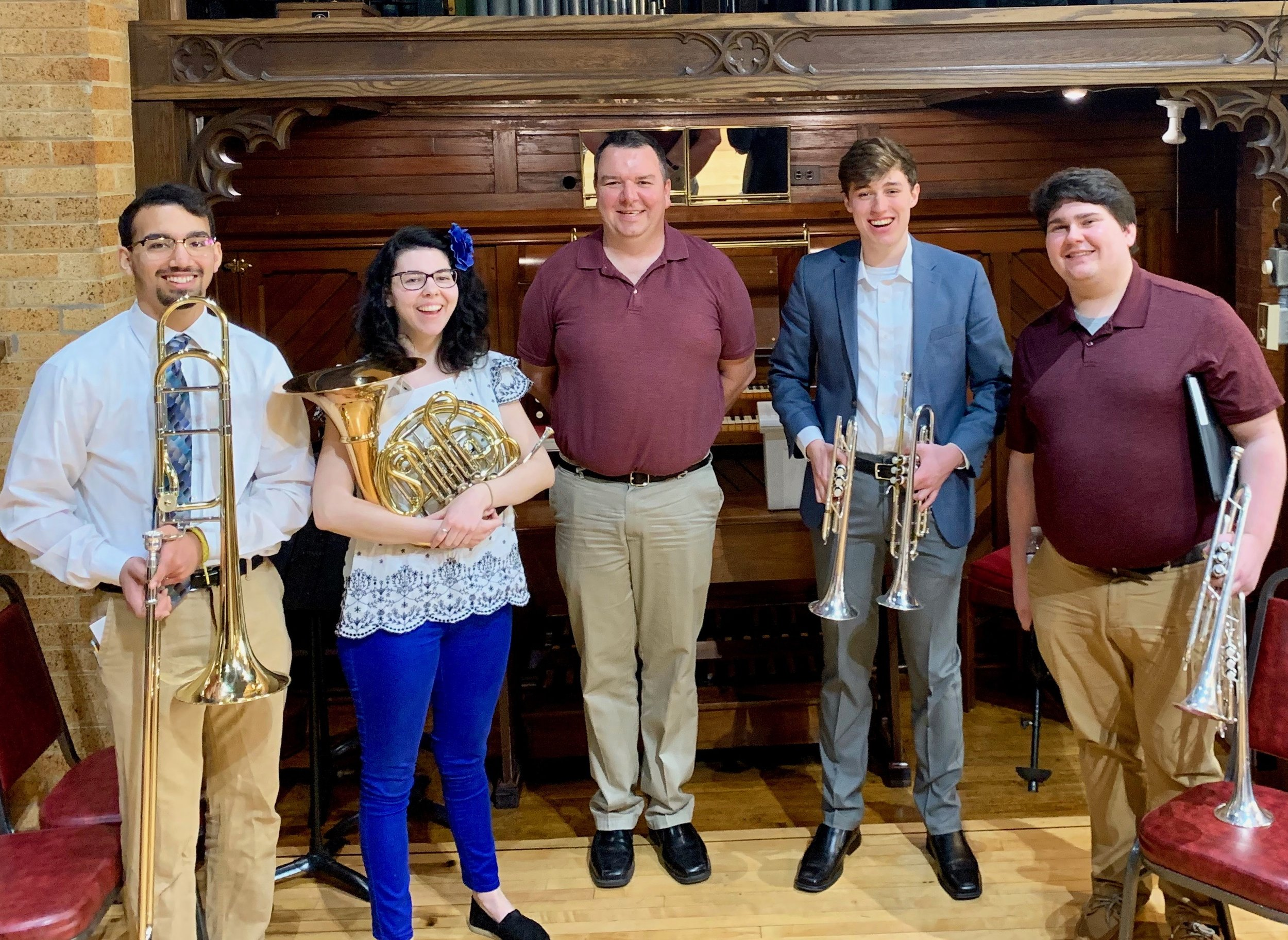 Organist & Minister of Music, W. Stephen Rose (center), with the Easter brass quartet, led by Hali Shepard (center-left).