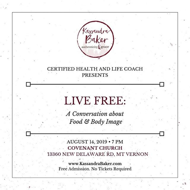 You can still hear my LIVE FREE presentation if you missed it last night at New Life Church of the Nazarene.  I will be sharing the same presentation at Covenant Church next Wednesday night!  #livefree #authenticityandgrace #authenticity #grace #intuitiveeating #foodfreedom #bodyimage