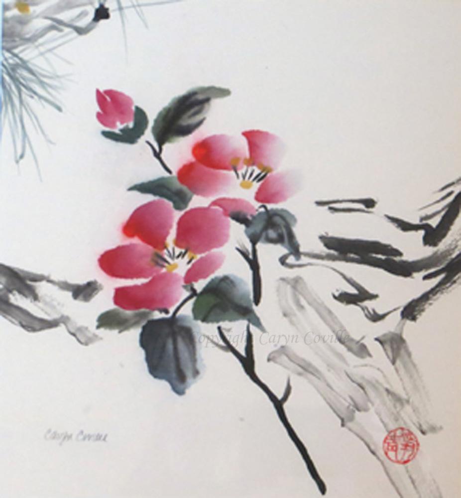 C.Coville Flowers & Pine Needles, ink & watercolor, 8 x 9 in.jpg
