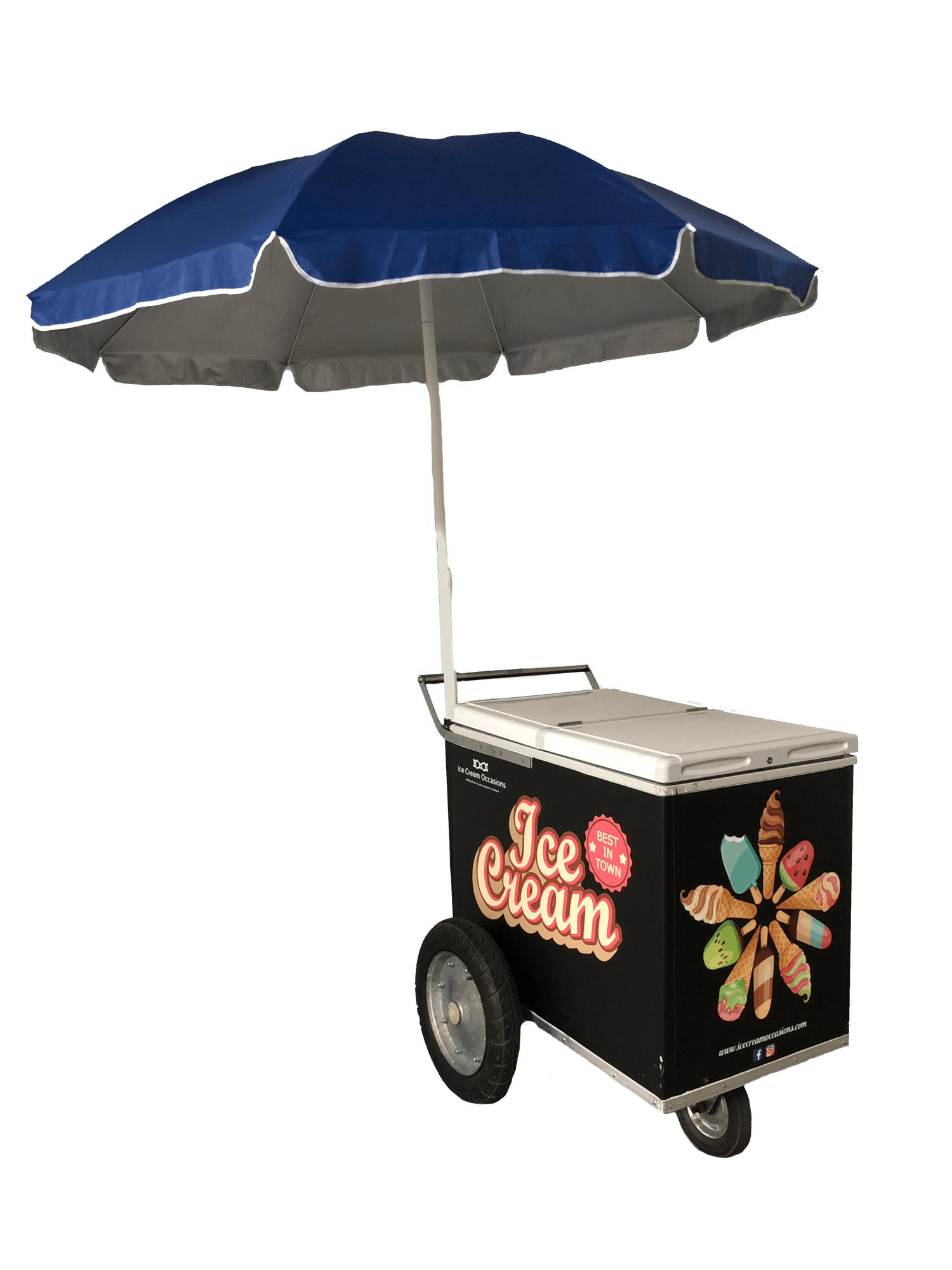 Ice Cream Cart Rental & Catering - Rent an ice cream cart for your party or event. Our ice cream cart rental service is a favorite among So Cal customers and we have a large selection of ice cream carts for rent. Our standard carts come in white and black and are available for rent starting at $349 and this includes delivery (Free within service area), Pickup, and 70 FREE pieces of your choice of ice cream. Am umbrella for outdoors and everything you need to keep things ice-cold is included at no additional charge. Rent your ice cream cart and choose your ice cream from one of the largest selections around.