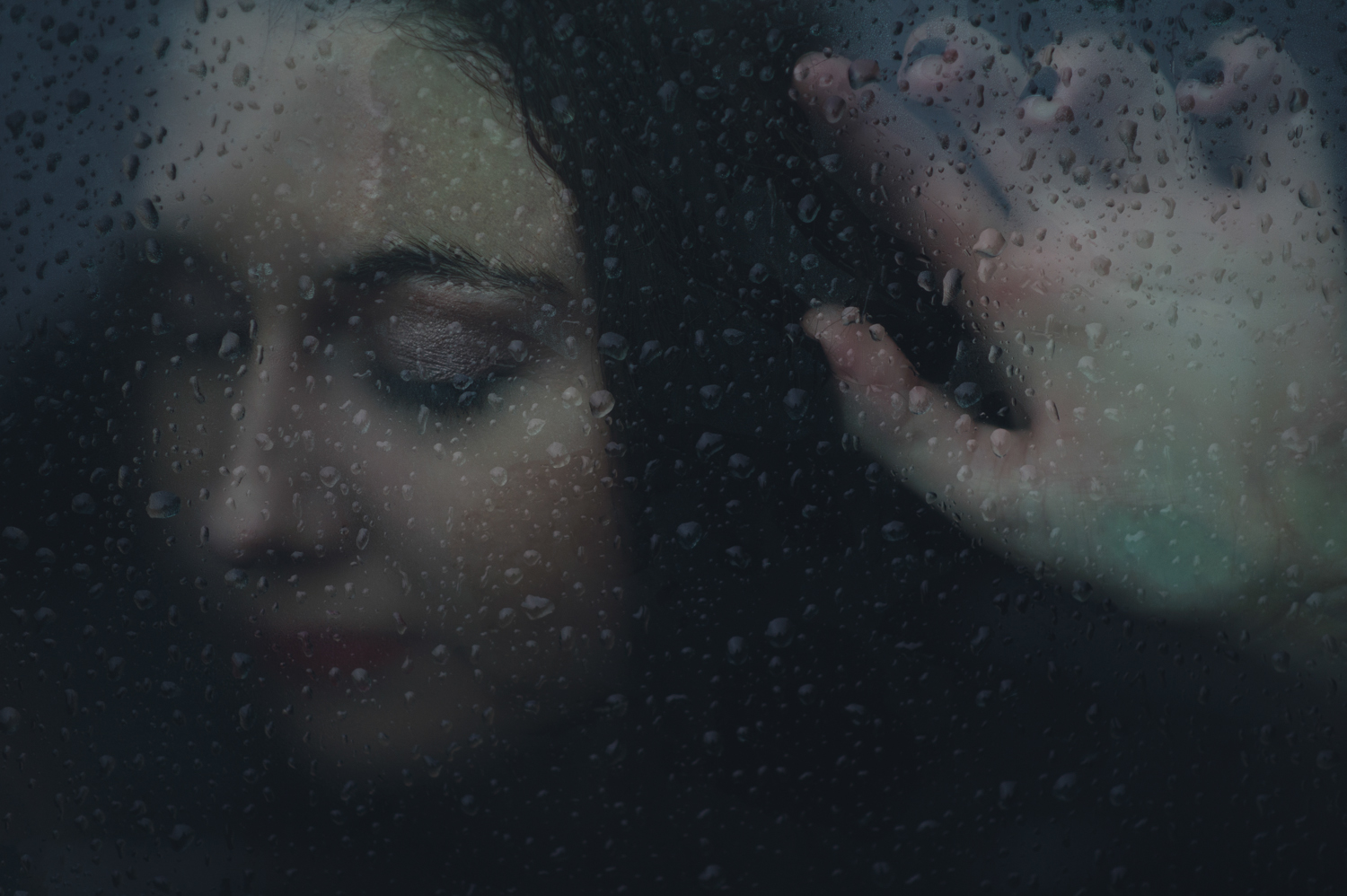 Frozen Memory - Dark Moody Rain & Glass Portraiture