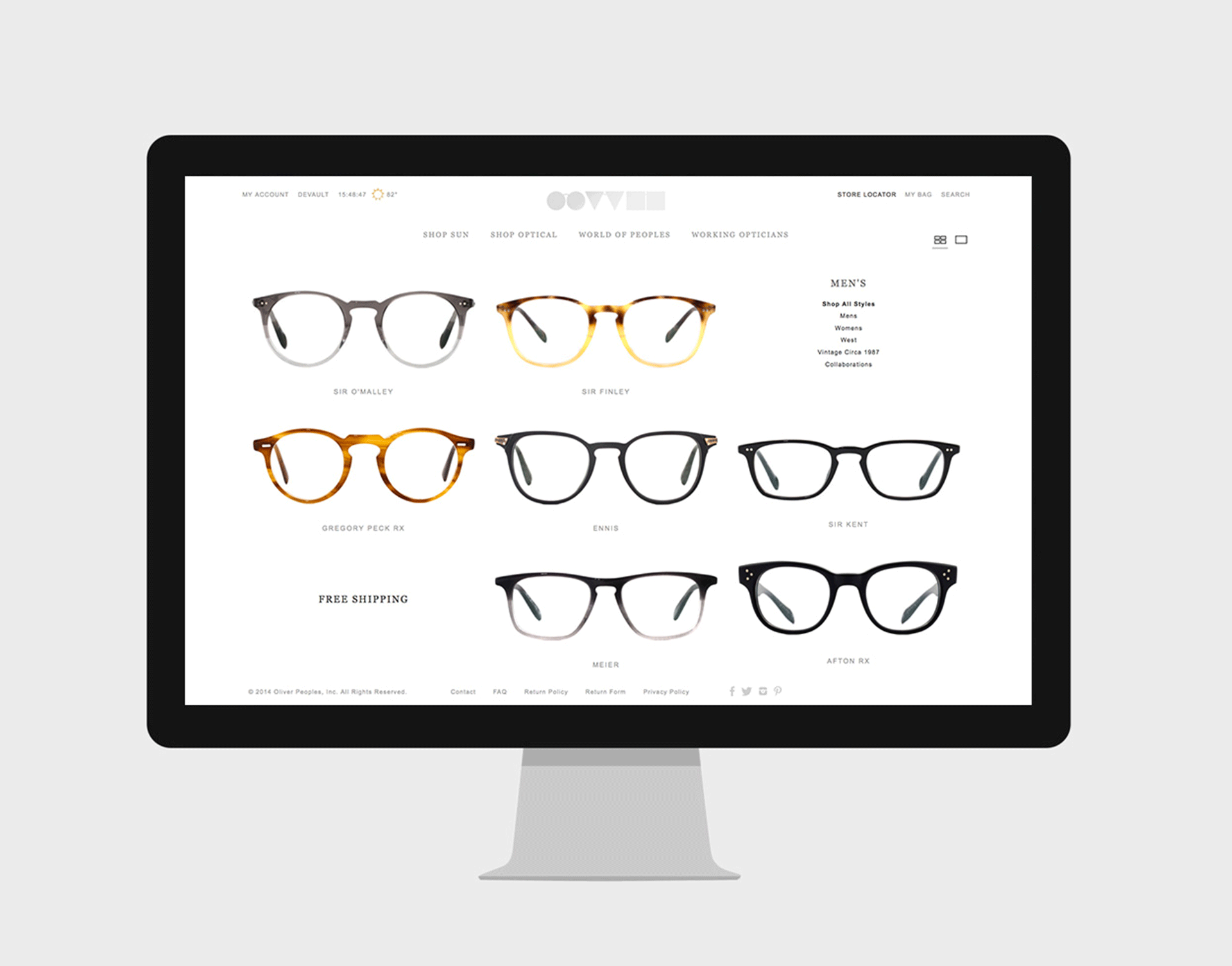 OLIVER PEOPLES  SITE REDESIGN
