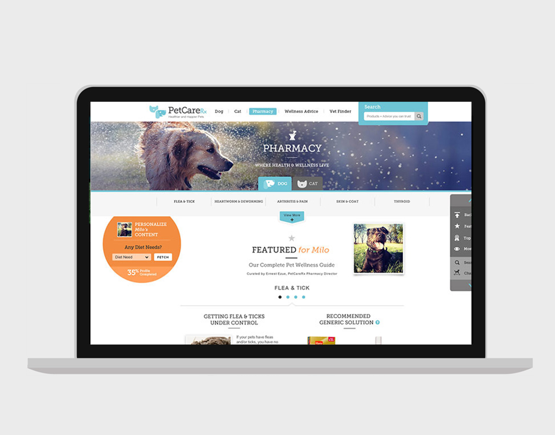 PETCARERX  REBRAND + SITE REDESIGN  Our mission was to overhaul the PetCareRx brand, revitalizing the identity and site of the leading online pet wellness and product retailer. We set out to create a full-service, one-stop destination for pet parents through personalization and automation.    READ MORE →