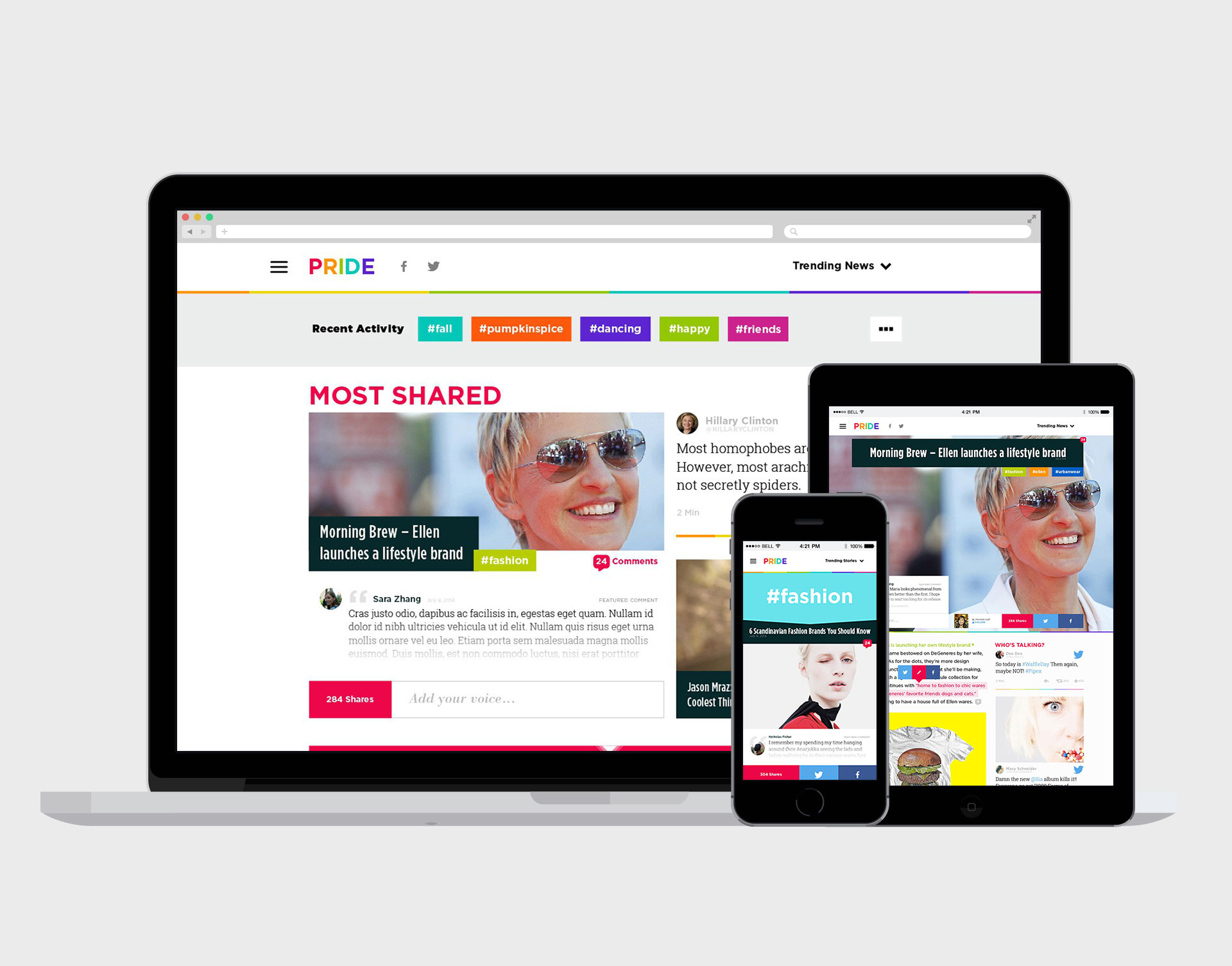 PRIDE   Launched by the world's leading LGBT media company, Pride.com is a new social entertainment network providing a content and conversation destination for millennials.   READ MORE >