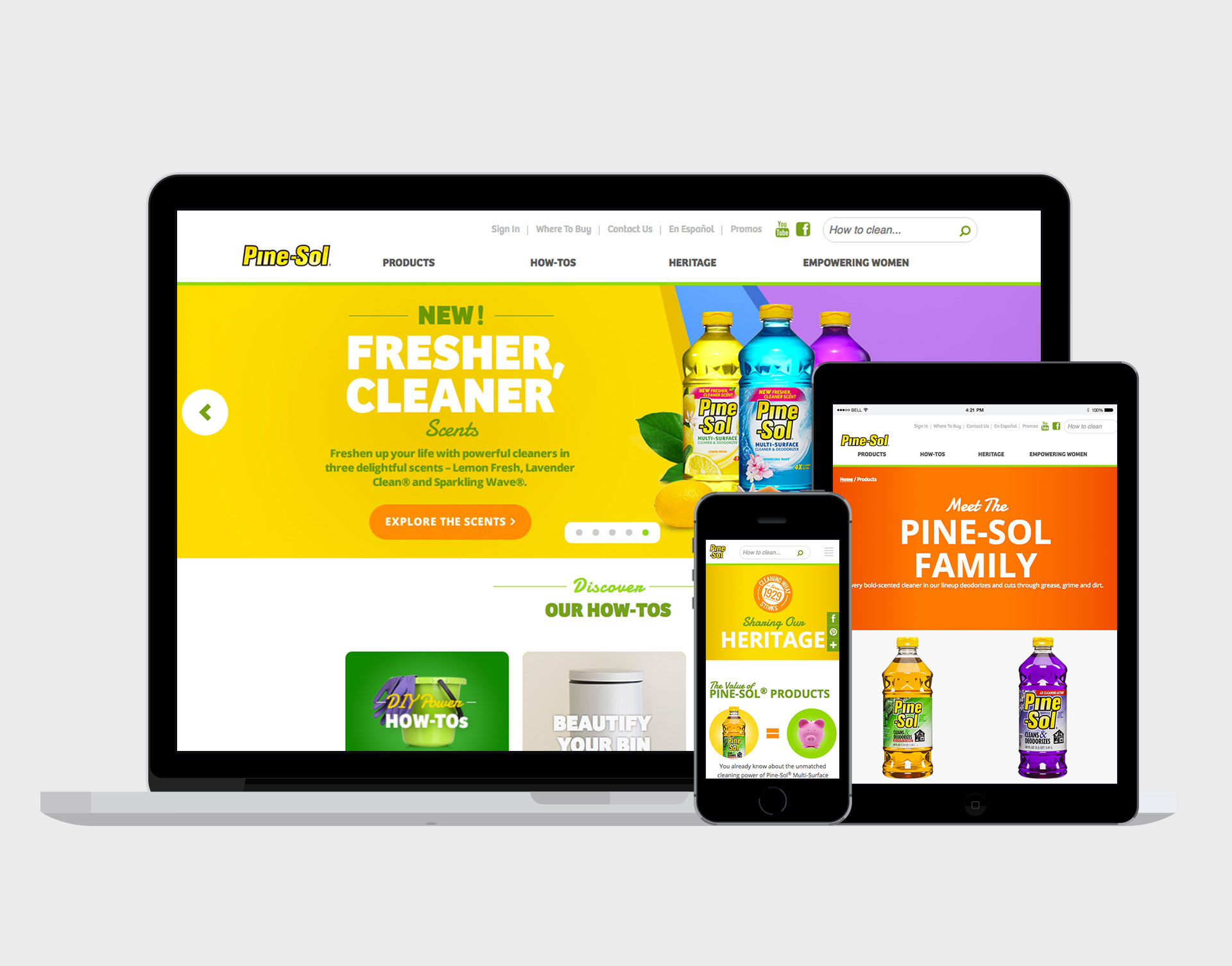 PINE-SOL  DIGITAL STRATEGY + SITE REDESIGN  Our team set out to research the shifting landscape of Pine-Sol's consumer base, devise a digital strategy based on these findings, and to redesign a responsive website as part of a brand refresh initiative.     READ MORE →