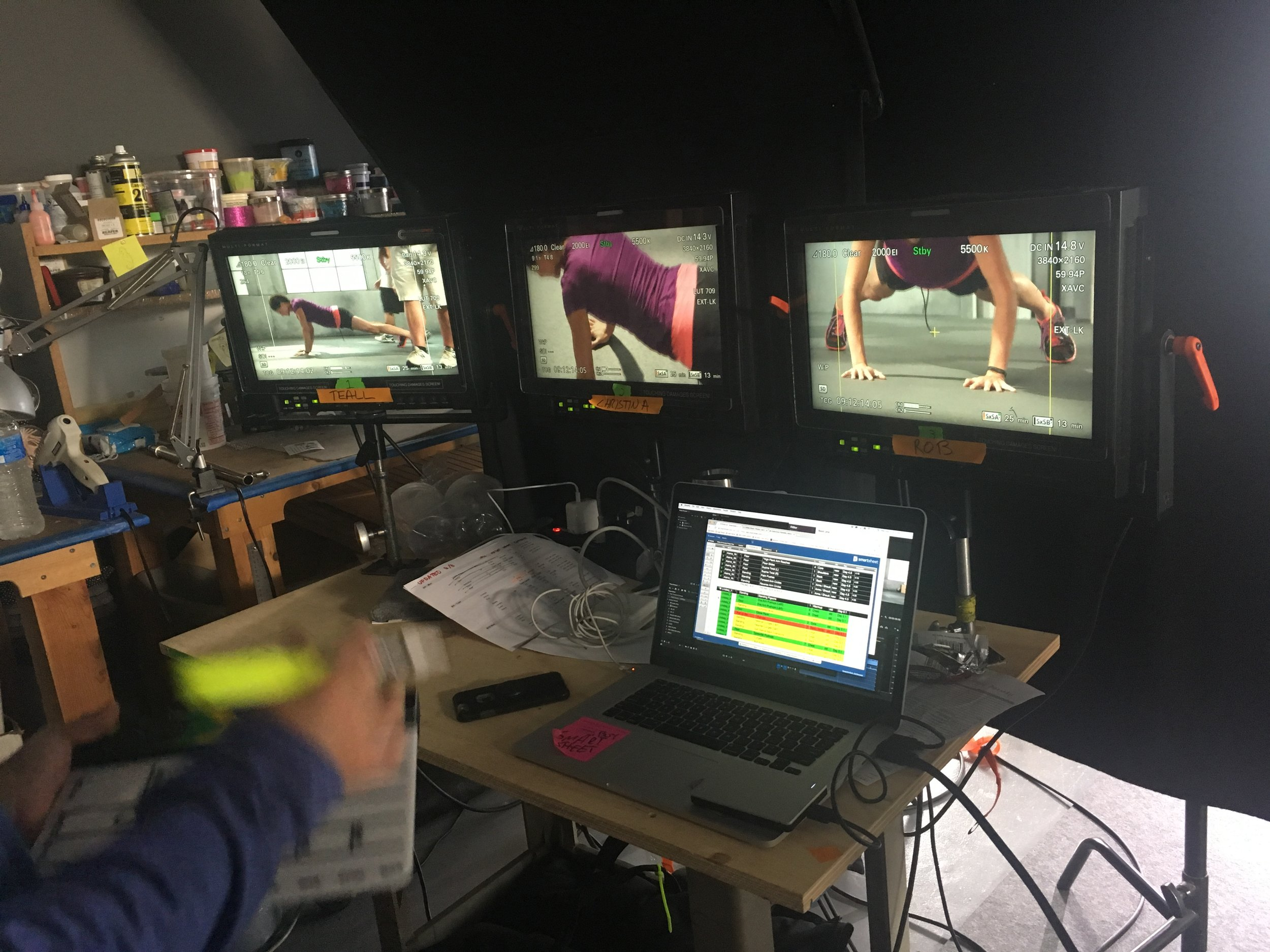 A glimpse of video village on set at the Fitstar moves production. Over 600 setups of exercise moves were captured by over 17 models on a rigid timeline. Precision and form were paramount, thus requiring a team of experts to advise our fitness trainers.