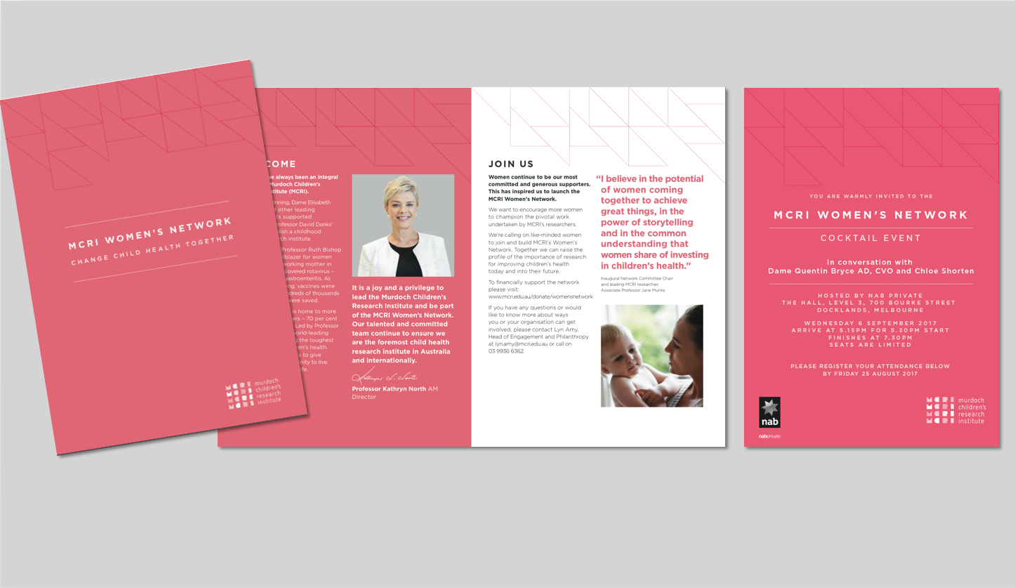 Sub brand and marketing material for MCRI Women's Network