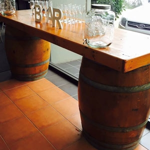 Wine Barrel bar - Designed to sit perfectly between the 2 wine Barrels.