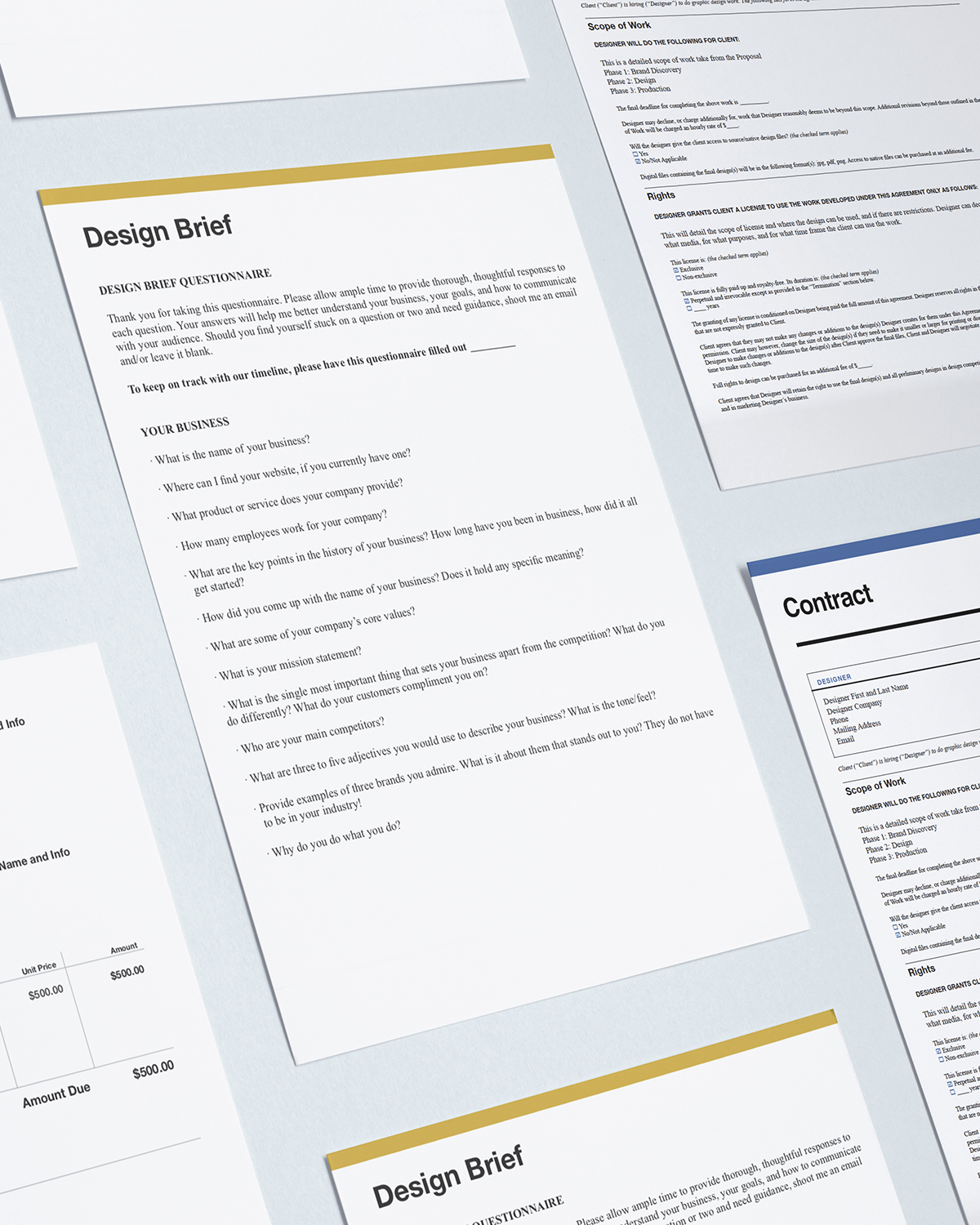 pre-lance toolkit templates for designers