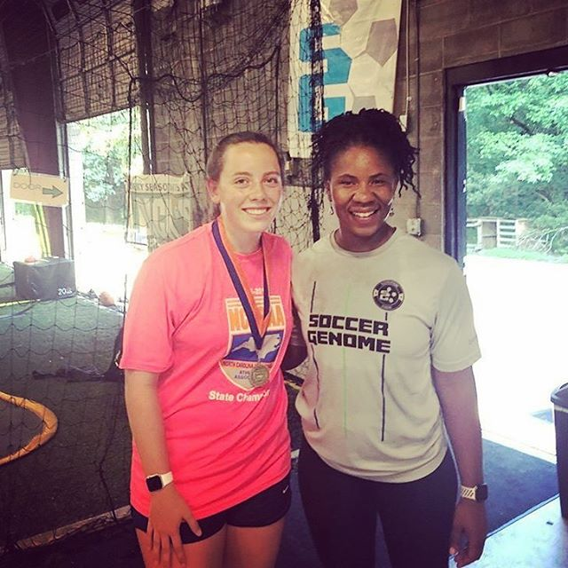 Teressa's State Championship tour continues at SG! She came by Sunday to thank coach Dena. But we are now extending the thanks! Very kind of you to come by and pass along the gratitude. Glad to have been a part of your successes! And wishing the best as you move on to ECU!!! . . . . . #proudcoach #sgfamily #itsinourdna #statechampion #gratitude