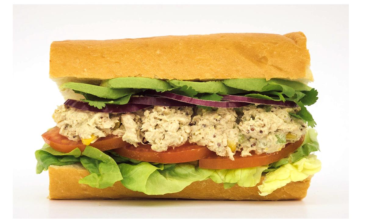 GREEN TUNA   Tuna Salad, Avocado, Lettuce, Tomato, Red Onion, Fresh Cilantro, Whole Grain Mustard