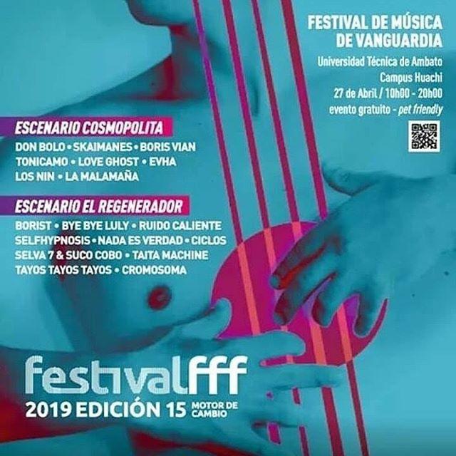 Gente querida de Ambato, hace tiempo que queríamos ir para allá! Nos vemos el 27 de abril en @festivalfff en la UTA! Llevamos nuevos sonidos! ☄️ . . . #festival #festivals #concierto #show #ambato #ambatocity #ambatoecuador #ambatohoy #music #band #dj #beats #bomba #andes #envivo #liveshow #liveset #indie #electronica #electro #djset #ecuador #indiemusic