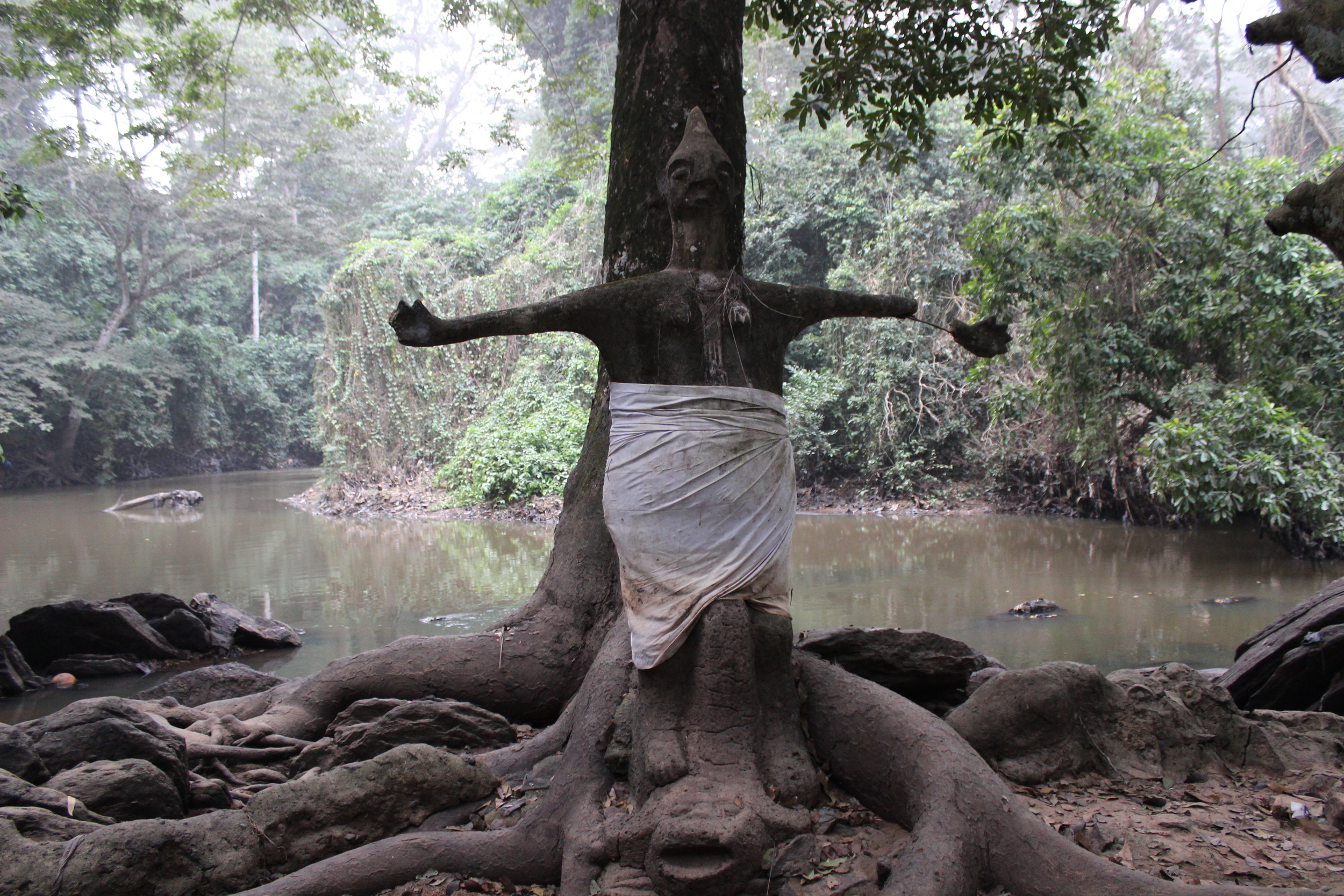 The concrete-statue of Oshun Oshogbo, built by artist Shaka at the place where Oshun was met by the Yoruba settlers. Dry season, 2015.
