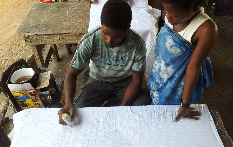 Wax painting at Nike Okundaye's workshop in Osogbo.
