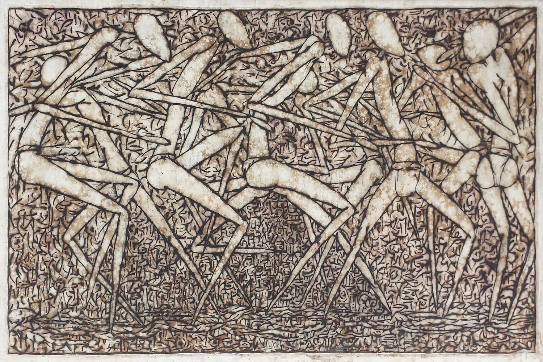 """Circle Dancers (III)"", natural pigment on paper, 57 x 87 cm, 2014. ©Akinjide Baruwa"