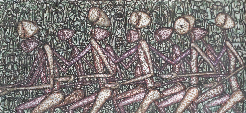 """Masses day"", natural pigment and acrylic on canvas, 70 x 150 cm, 2016. ©Akinjide Baruwa"