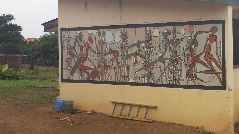 """Strength from the Within (V)"", acrylic on wall, 610 x 150 cm, Das deutsche Haus, Ile-Ife, 2016. ©Akinjide Baruwa"