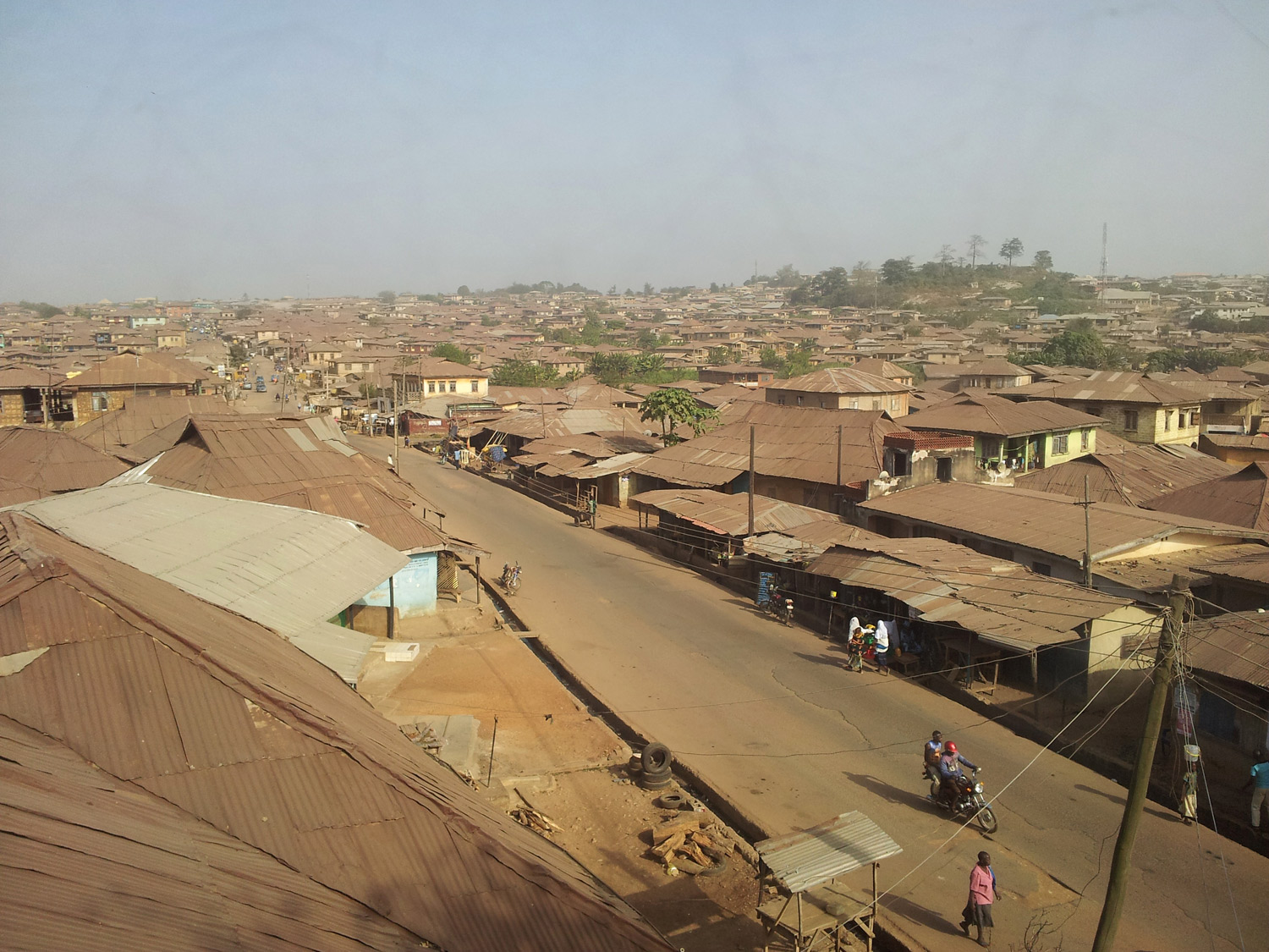 View from 2nd floor Ibokun Road over the city of Osogbo.