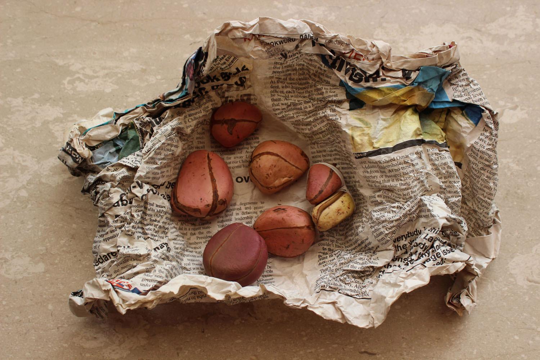 Obi abata, 4-lobbed kola nuts, as basic offering to the Orisha in the weekly Ose ceremony.