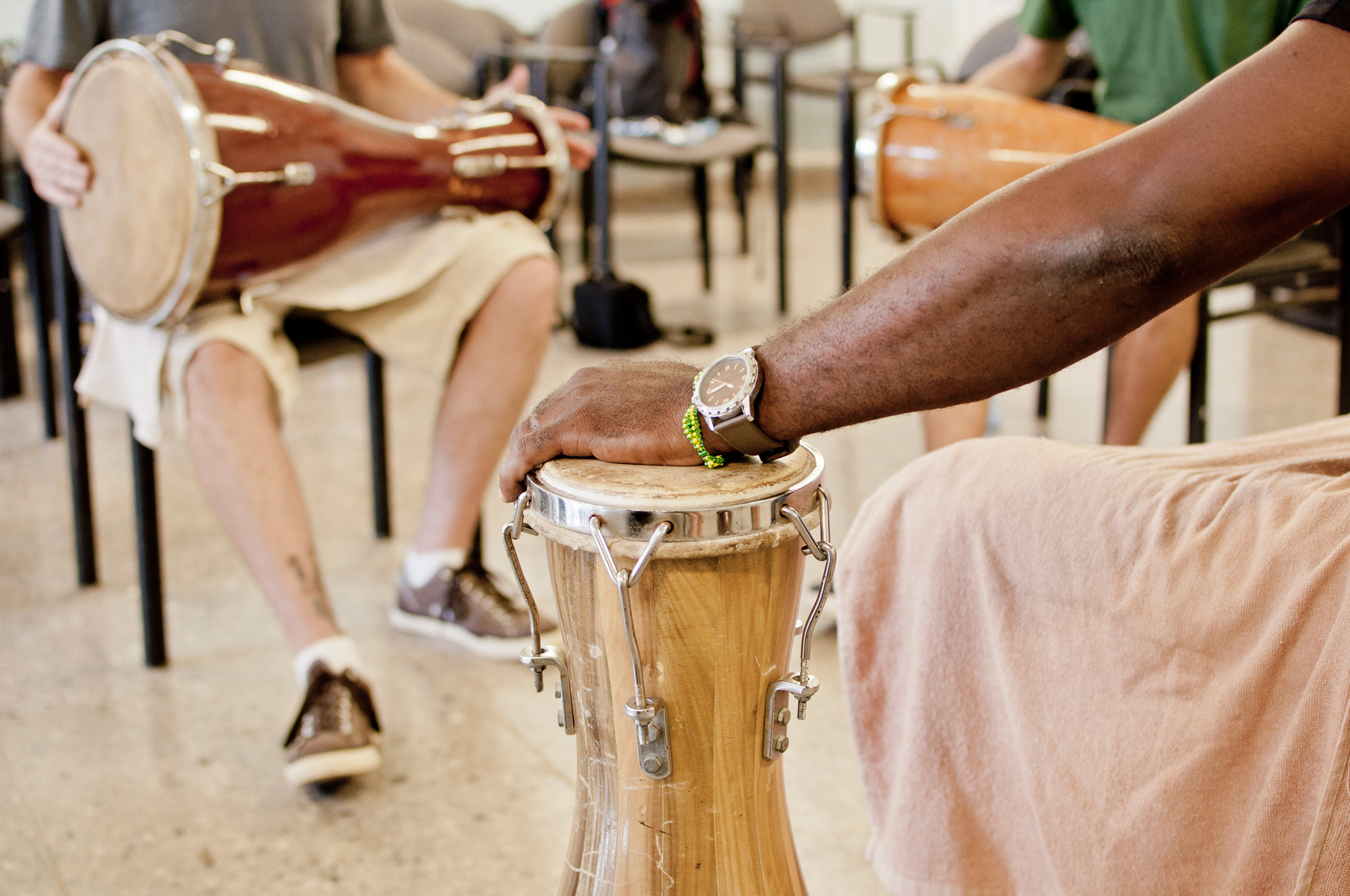 "Modern bàtá drums, called ""Aberikula"", are used only in a non-ritual context. They never contain Orisha Àyàn. Yellow and green are the beads of Orisha Orunmila in Cuba. Photo  vxla  CC  BY 2.0"