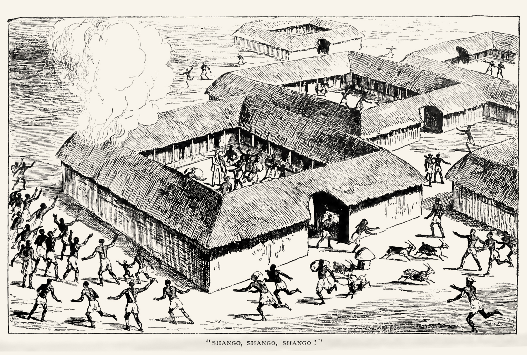 """An image showing the outbreak of fire, the subtitle says people are screaming """"Shango!"""" In the middle of the compound there could be the missionary, pointing at the fire, he remains calm,explaining something in the midst of the turbulence."""