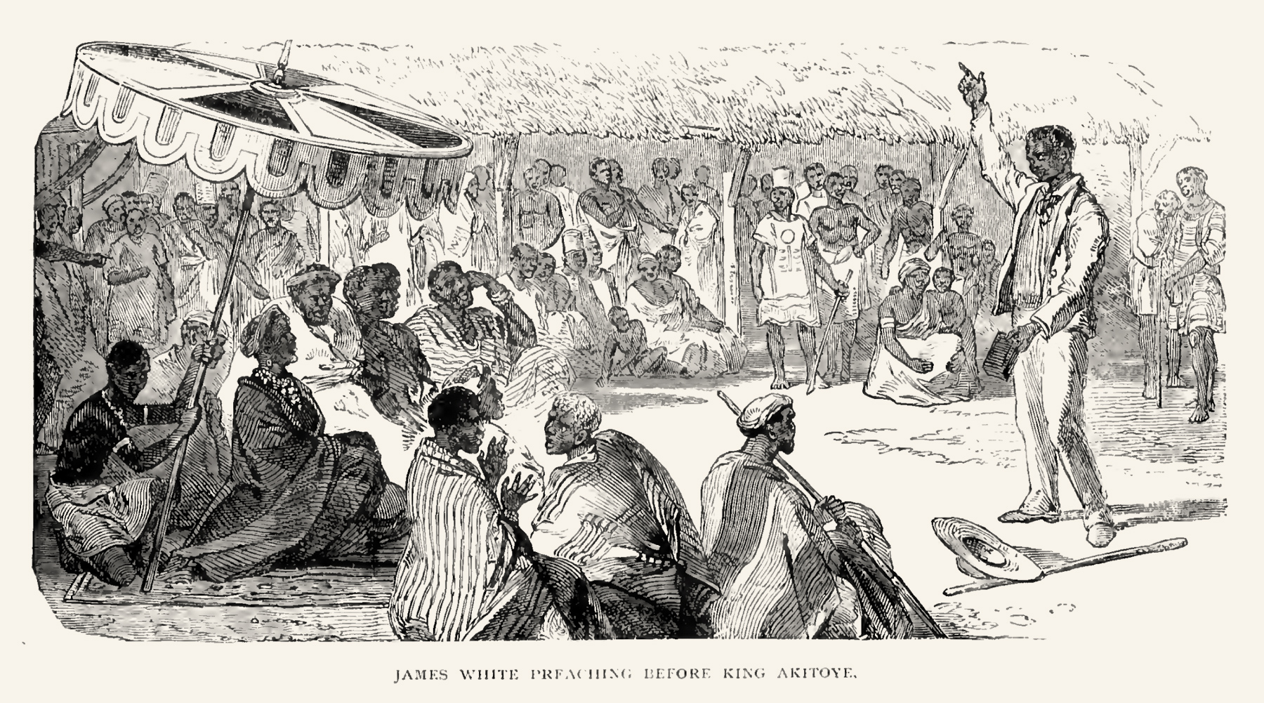 James White preaching the Gospel before King Akitoye and the chiefs from his palace.