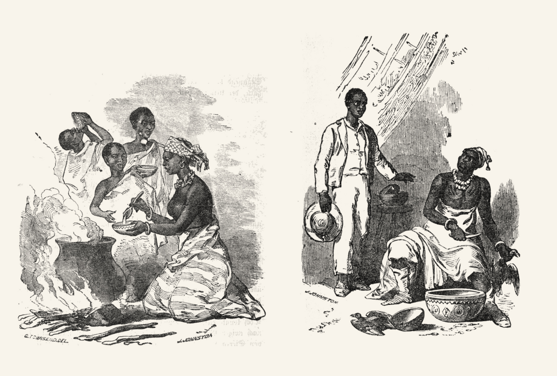 """Left the """"breakfast scenery"""" on Abeokuta's streets. Right King Akitoye, getting disturbed while sacrificing two pigeons to his Orisha, later being very much """"ashamed"""". The simple message in all these images: Western clothes=modern educated African, half-naked=primitive Olorisha. The lady on the left looks bare-breasted."""