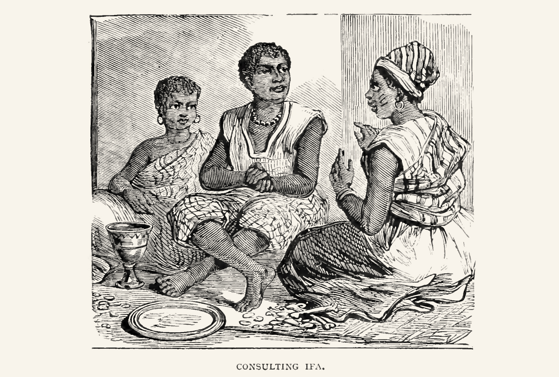 The Babaláwo consulting for his clients. Notice the Ọpọ́n Ifáwith ìyẹ̀rẹ̀ osùn and some lines that could be Odù markings.The bones and small objects on the mat could be the ìbò, small tools for the detailed interpretation. The Babaláwo has also scarification marks on his cheeks.