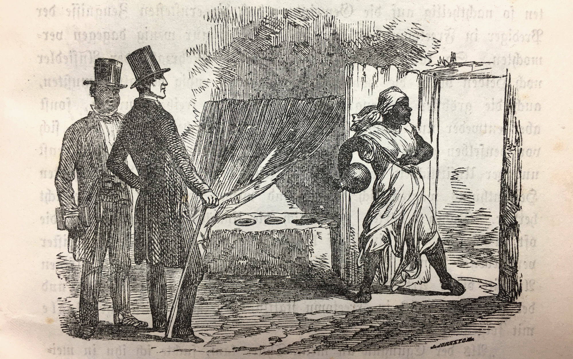 """An African Christian priest, bible in his hand, watches a European missionary, who watches an Olorisha, who throws away the """"idols"""". Interesting, that the African does not watch it directly, but rather follows the European's view on the scene, as if he was learning from his reactions. The Orisha shrine behind the curtain inside the house is empty, in the hand of the Olorisha is a clay pot with sacred water from a spring, mentioned in the text below. Clothes make the difference between the """"wild"""" and the educated African."""