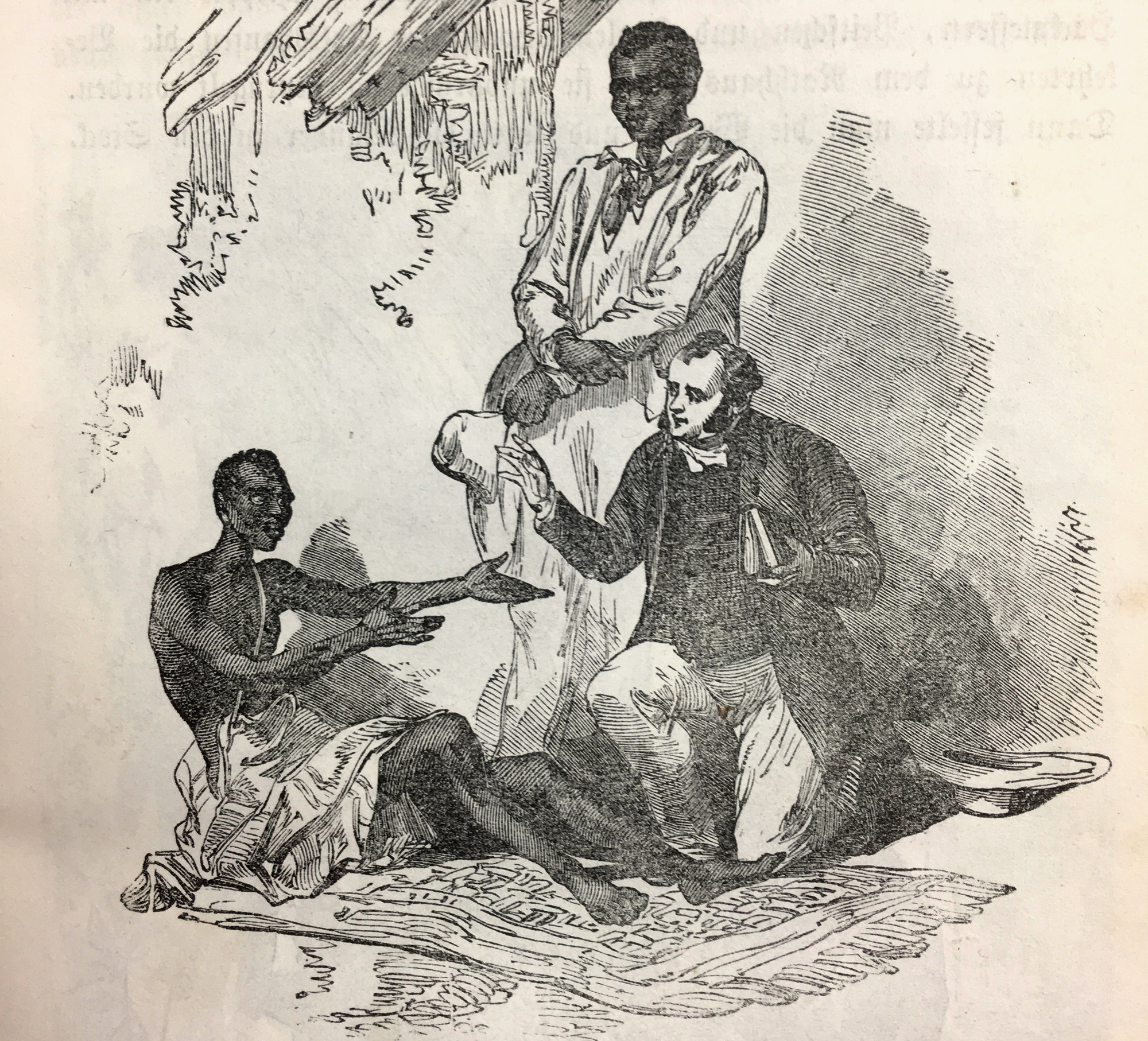 """The half-naked, sick African man, longing for the help of he pastor, was abandoned by his family, because he stopped the worship of """"the Ifa"""". Kneeling down with him, the bible in his hand, the missionary, The scene is witnessed by a well-dressed Arican watching the situation."""