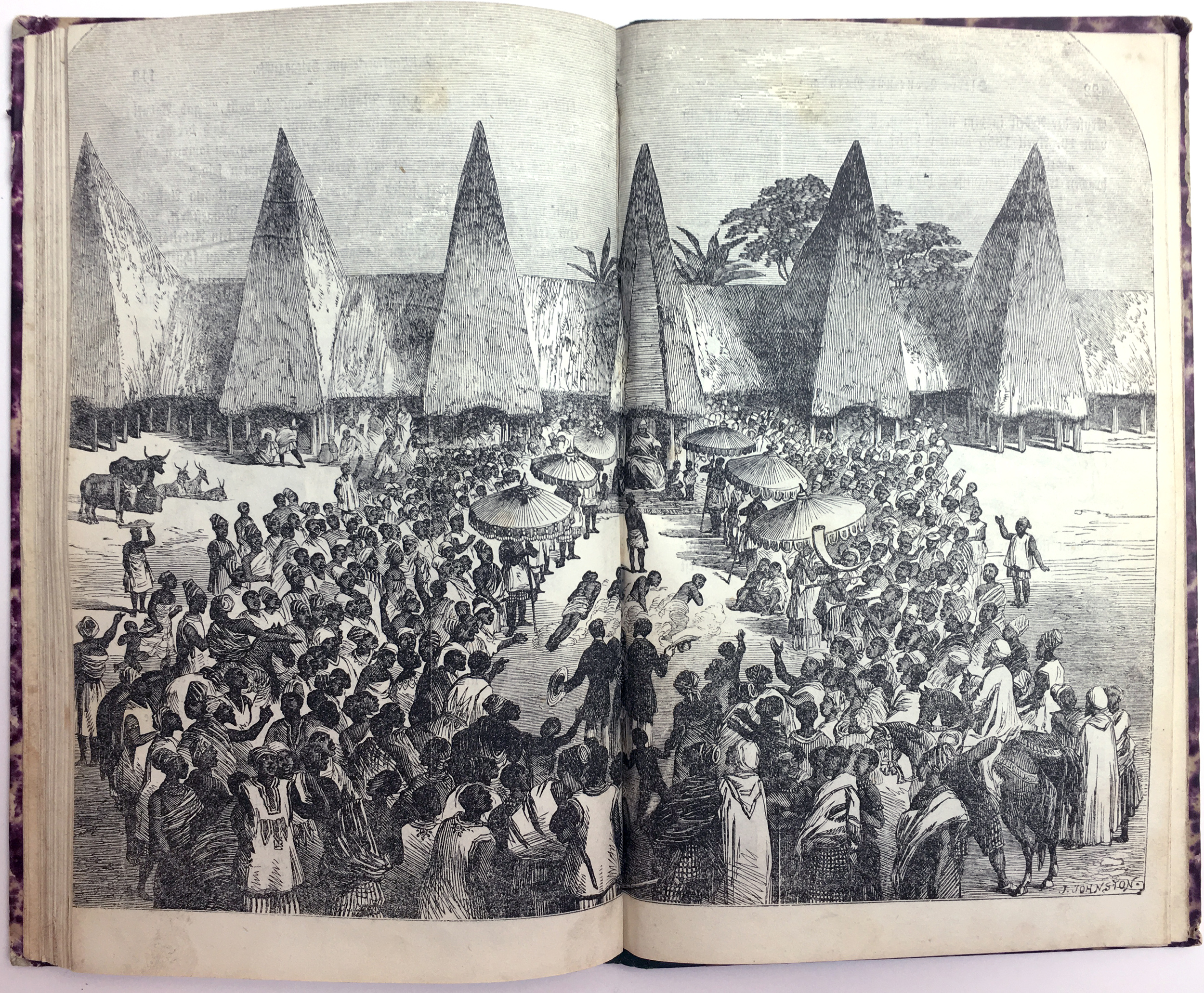 """Impressive Yorùbáarchitecture, a reception at the palace.See the people prostrating in the middle, doing the """"dọ̀bálẹ̀"""" greeting, also turning on their sides. Unfortunately today most of the new-built Yorùbá palaces resemble a colonial Greek-inspired neo-classical """"European temple"""" style.Even in the city of IléIfẹ̀ the Yorùbá shrines look like neo-classical Greek temples today."""