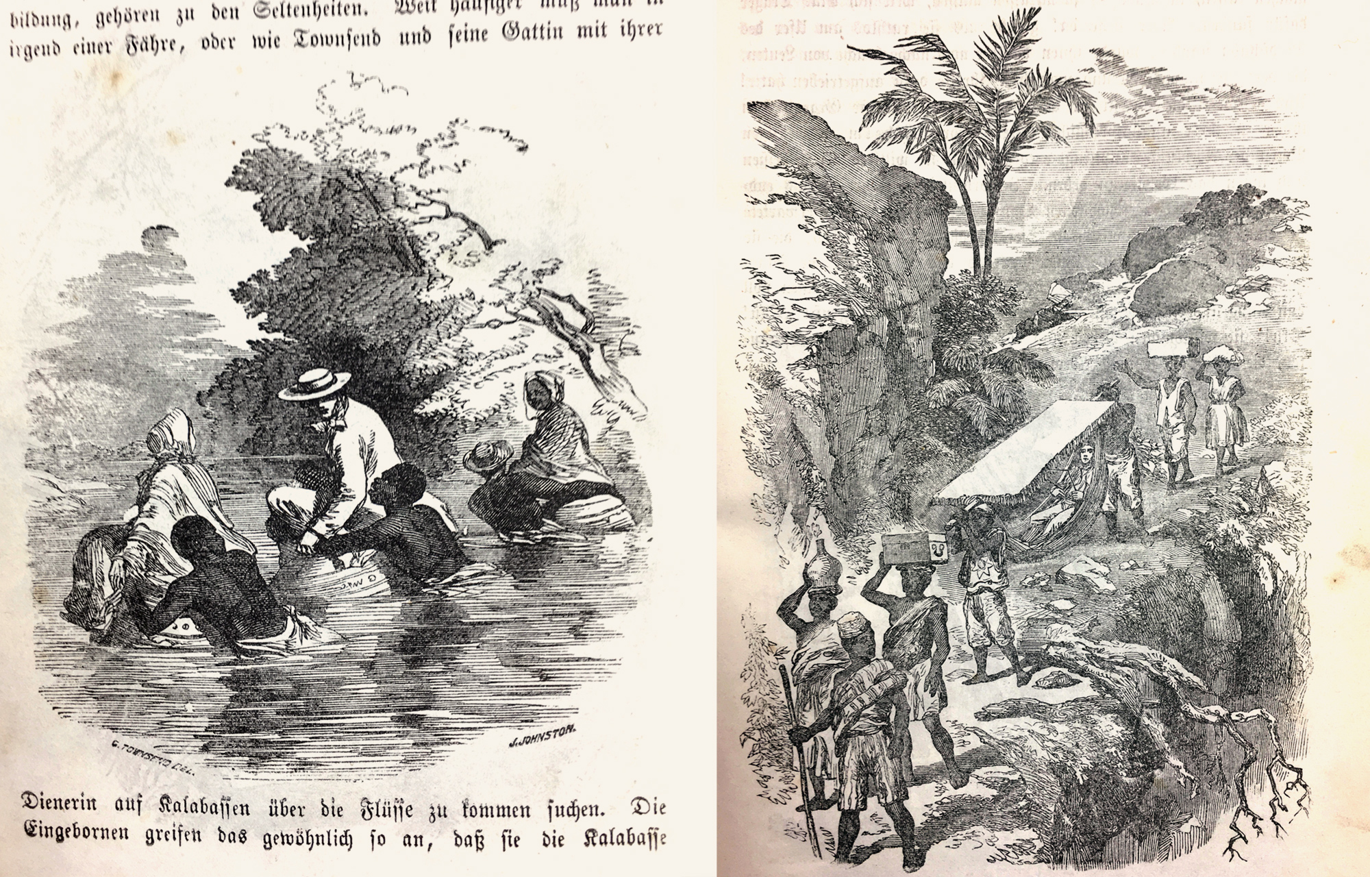 """While the text tells us about the dangers of traveling through Yorùbáland, the illustrations give us a more comfortable impression. On the left is the scene of crossing a river by the missionaries sitting in huge calabashes, on the right the typical image of a white explorer been carried by """"his freed slaves"""" in a hammock under a sun shield."""