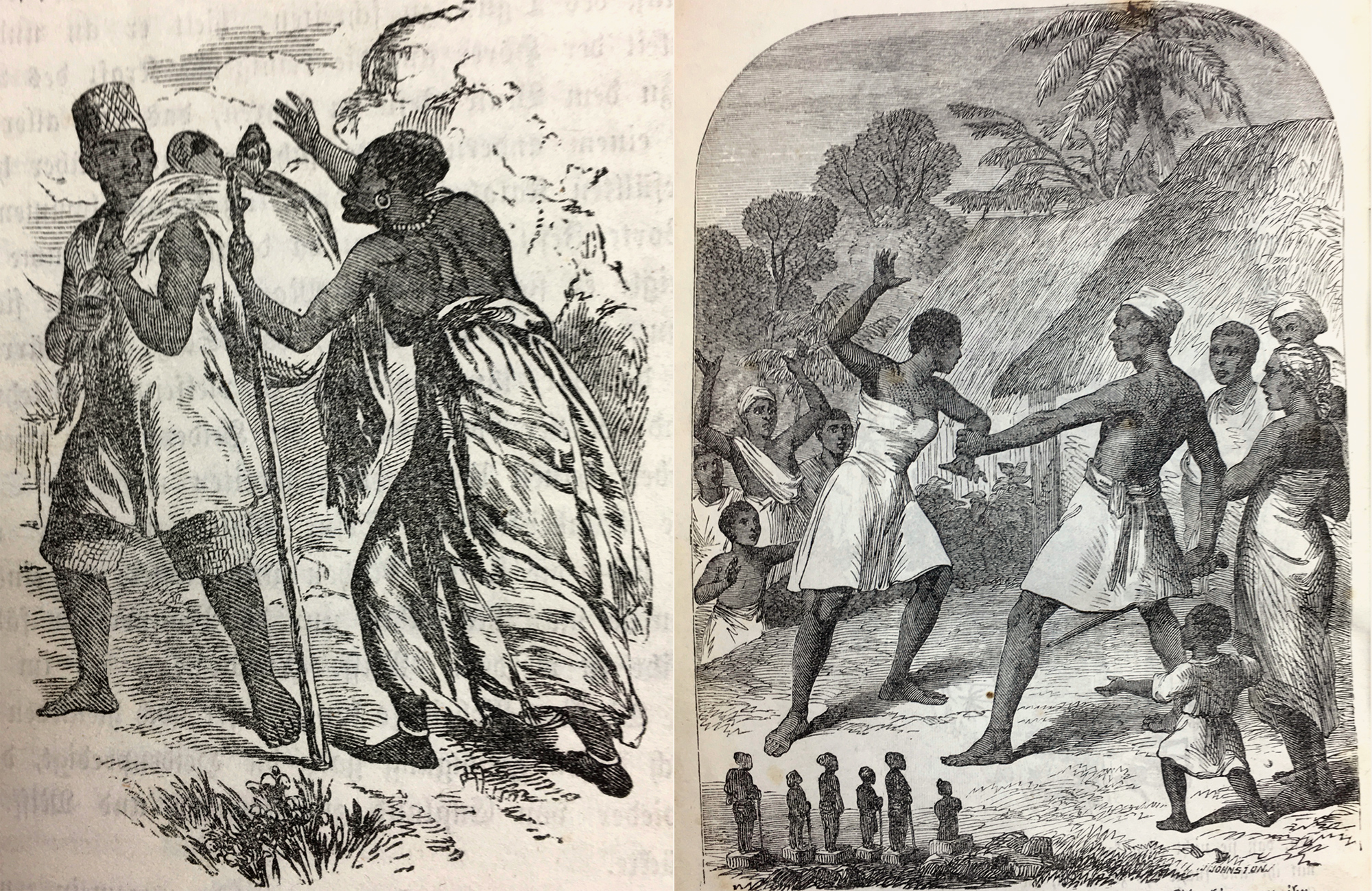 Left a young man bringing the Orisha stolen from his mother to the church. Right the girl who did not want to worship the Orisha any longer (see text below), being beaten by her father. In front the small Orisha carvings, the ère, how the illustrator imagined them to look like.