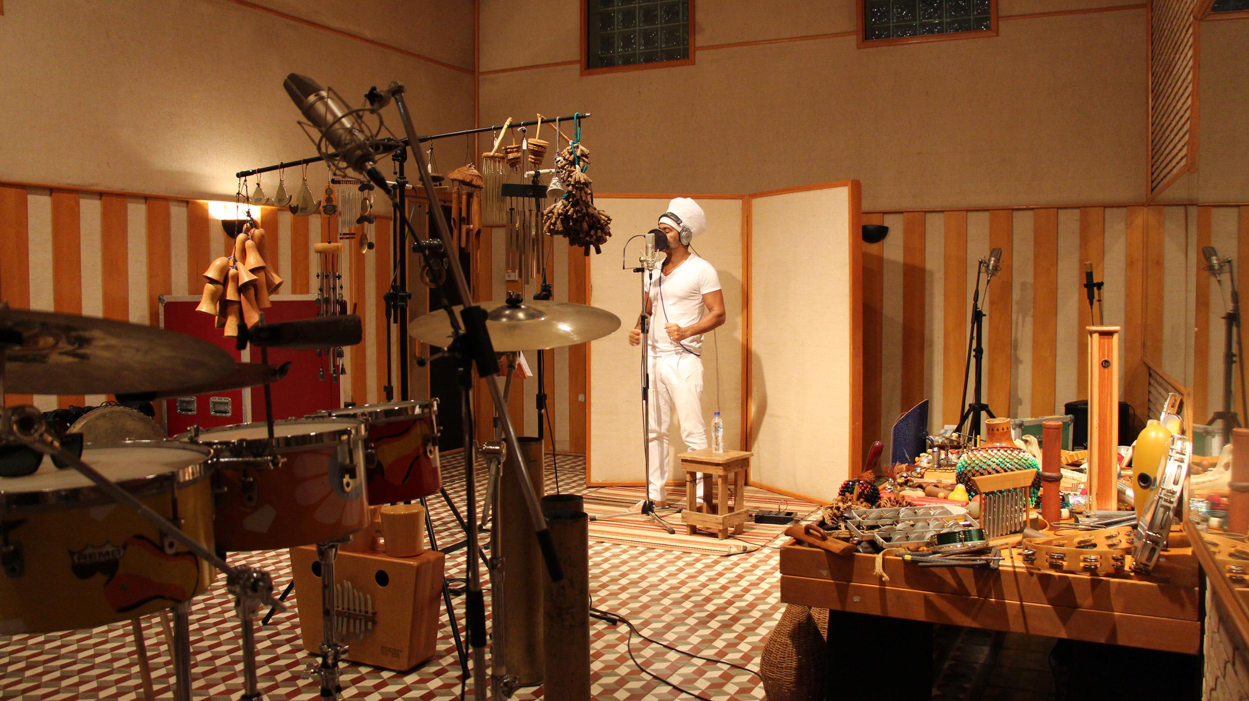 The famous musician Carlinhos Brown in the music recording studio. ©Diane Luz
