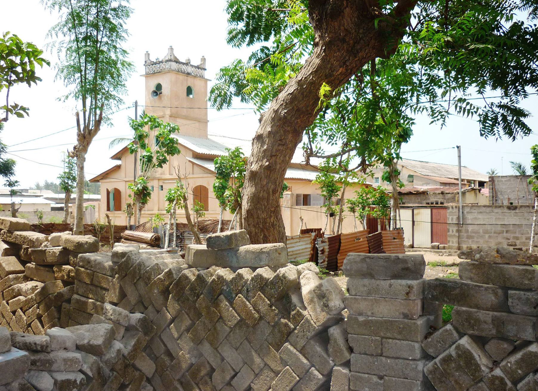 The mosque in Diata, the Yorùbá quarter of Agoué in Benin, view from the house of the Da Gloria family. The style is influenced by Brazilian church architecture. ©Lisa Earl Castillo