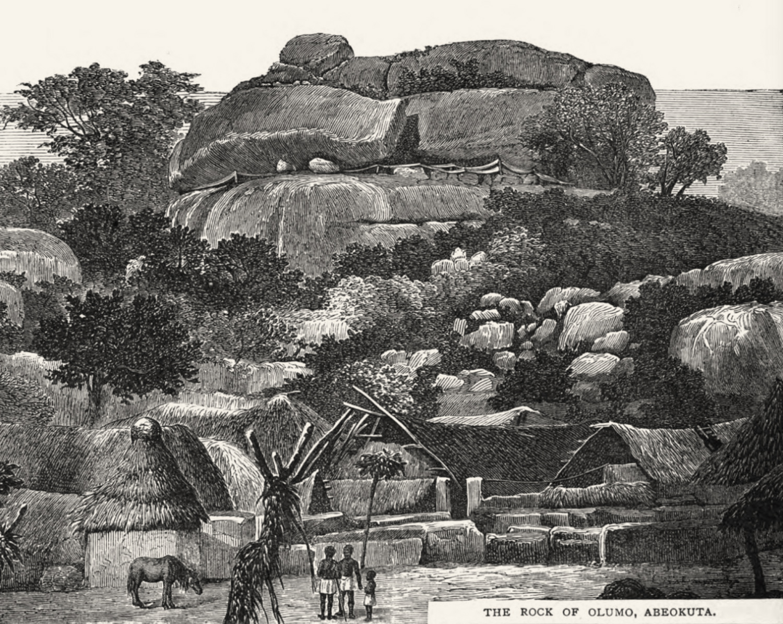 Olúmo Rock in Abẹ́òkúta, illustration from a CMS publication, around 1850. Image Public Domain.