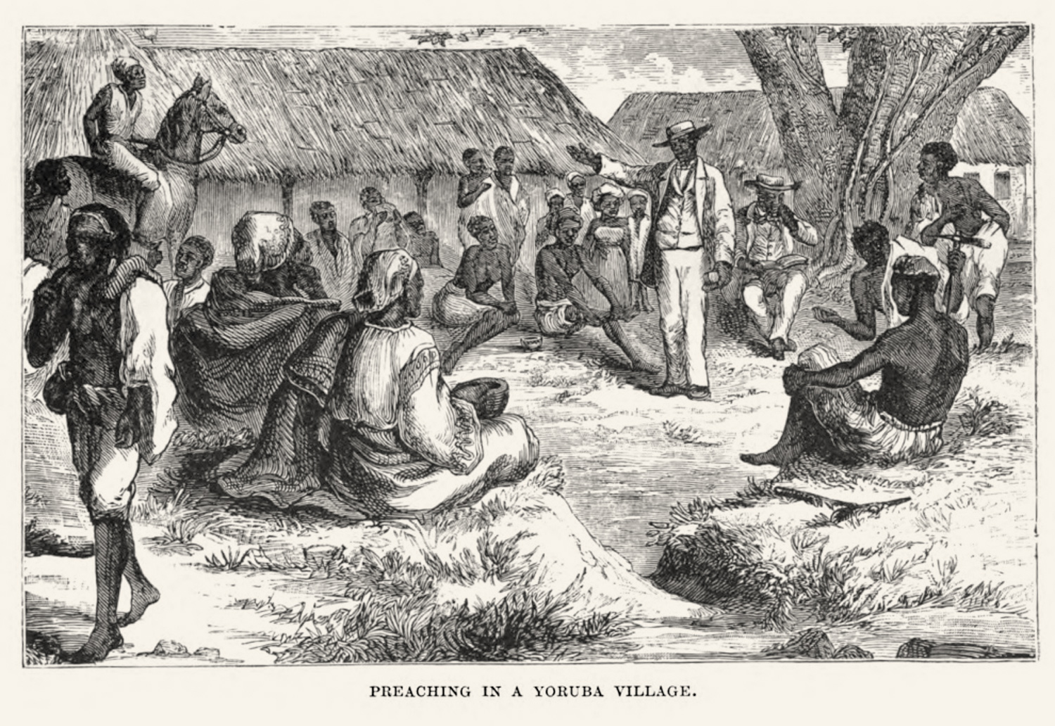 The CMS publications contain many beautiful illustrations from missionary life in Yorùbá-land. Usually they were produced by artists in Europe, based on the descriptions of the missionaries. Image Public Domain.
