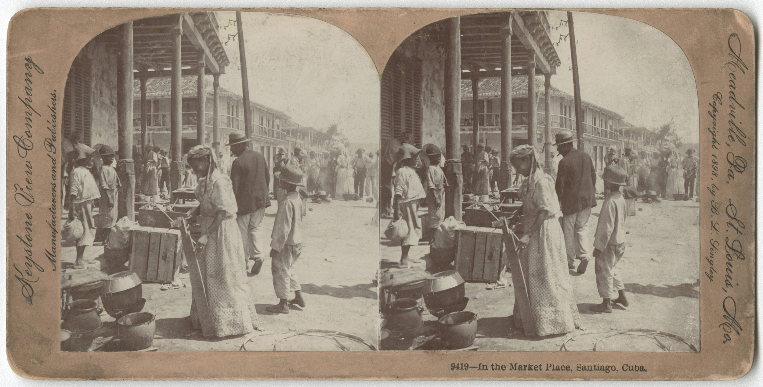 Street view from the market in Santiago de Cuba, 1898. Found in the Cuban Photograph Collection by the  University of Miami Libraries . Image Public Domain.