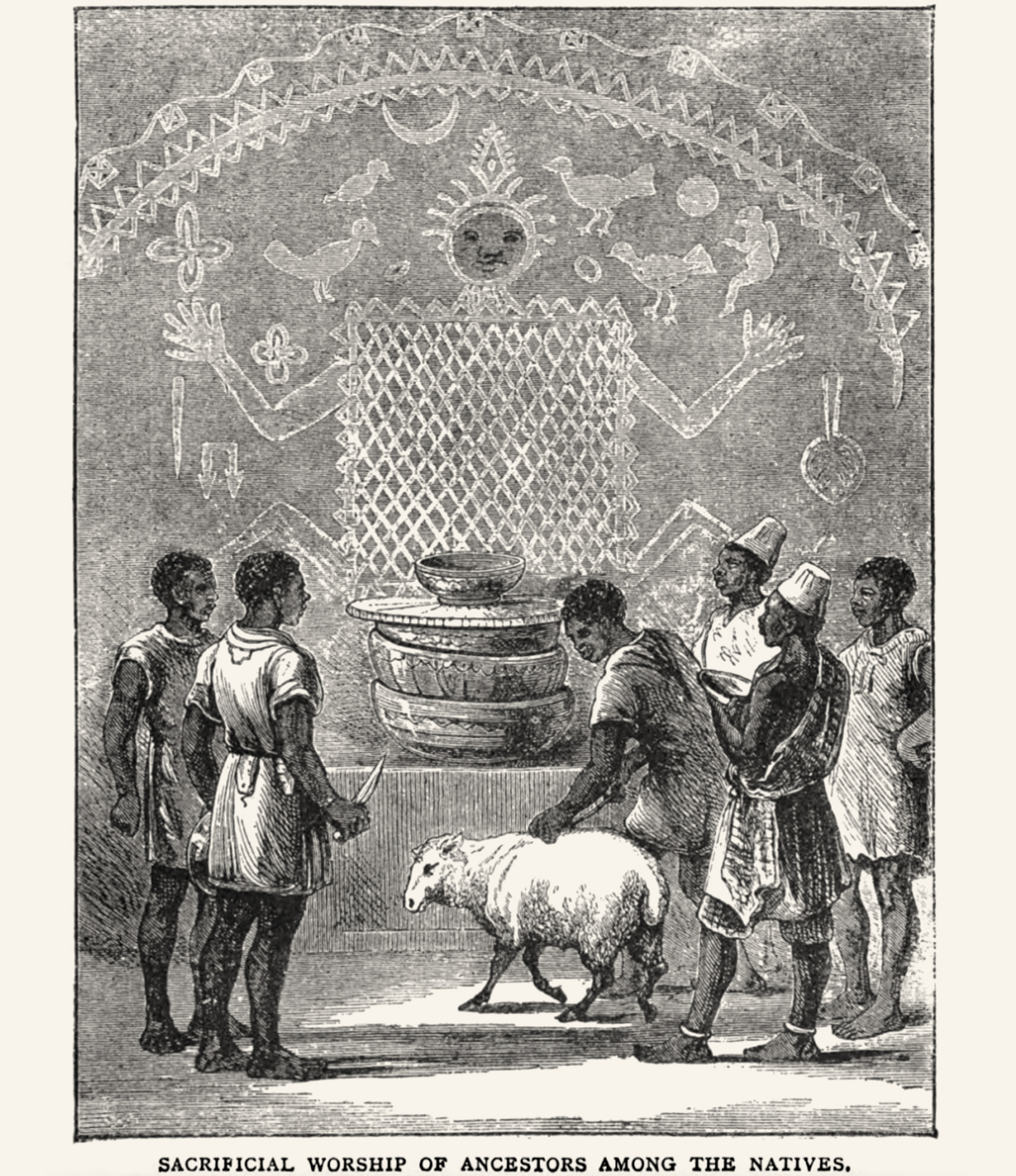 An image that should illustrate animal sacrifice as carried out by the Yorùbá people. CMS illustration, image Public Domain.