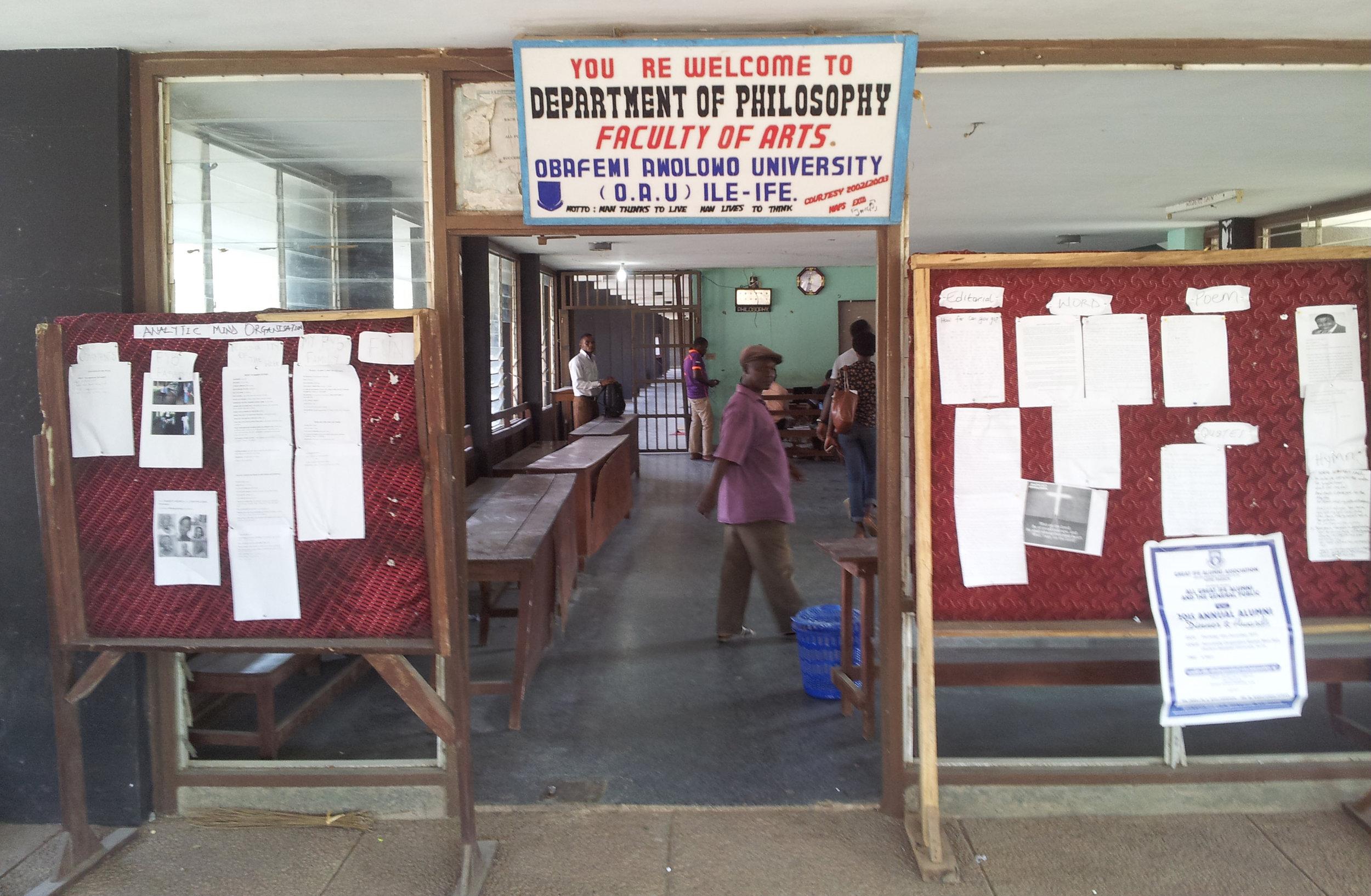 The entrance to the Department of Philosophy at the Ọbáfẹmi Awólọ́wọ̀ University in Ilé-Ifẹ̀, 2015.©orishaimage.com