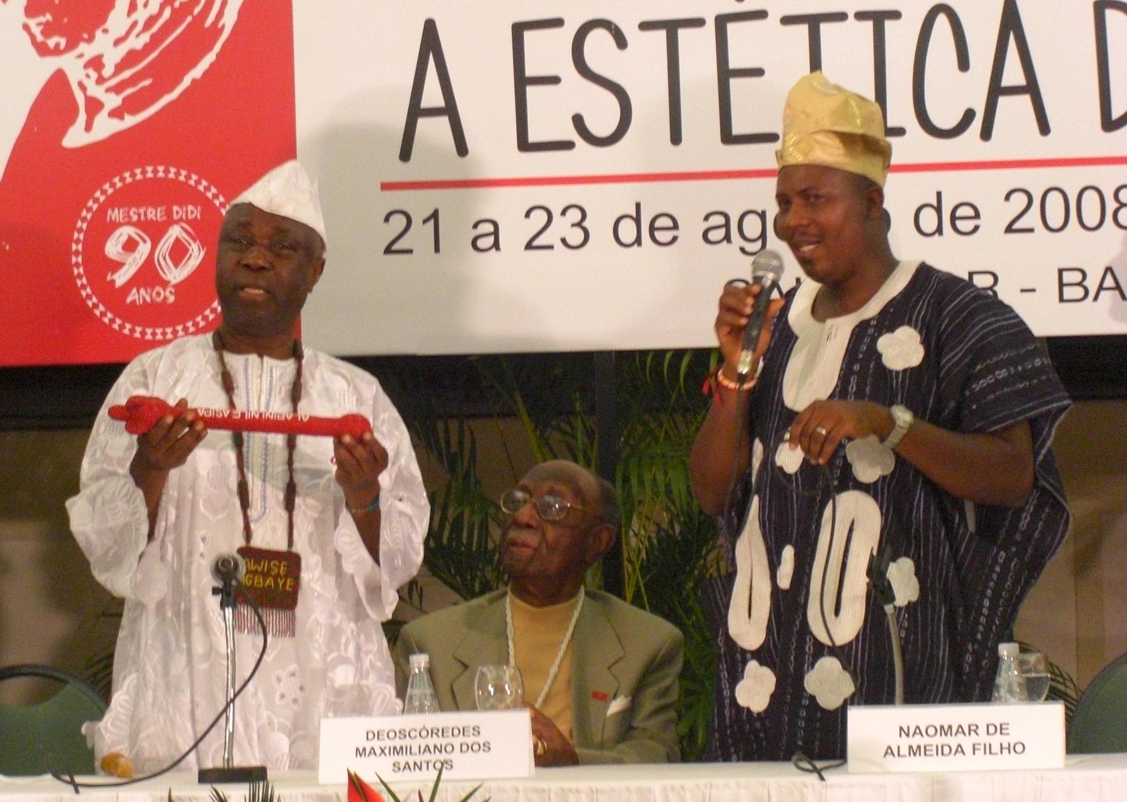 Felix Ayoh Omidire with Awise Wande Abimbola and Mestre Didi Alapinni of Ile Asipa l, Salavador da Bahia.©Félix Ayoh'OMIDIRE