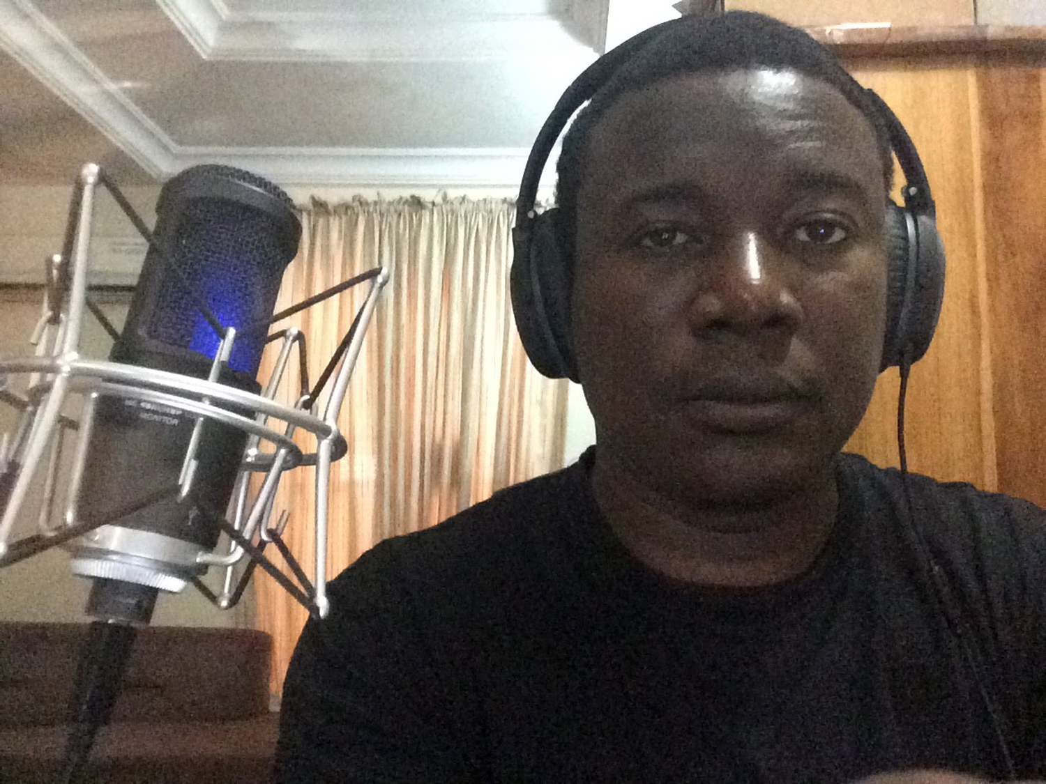 In the recording studio with the AT2020+ microphone. ©Kọ́lá Túbọ̀sún