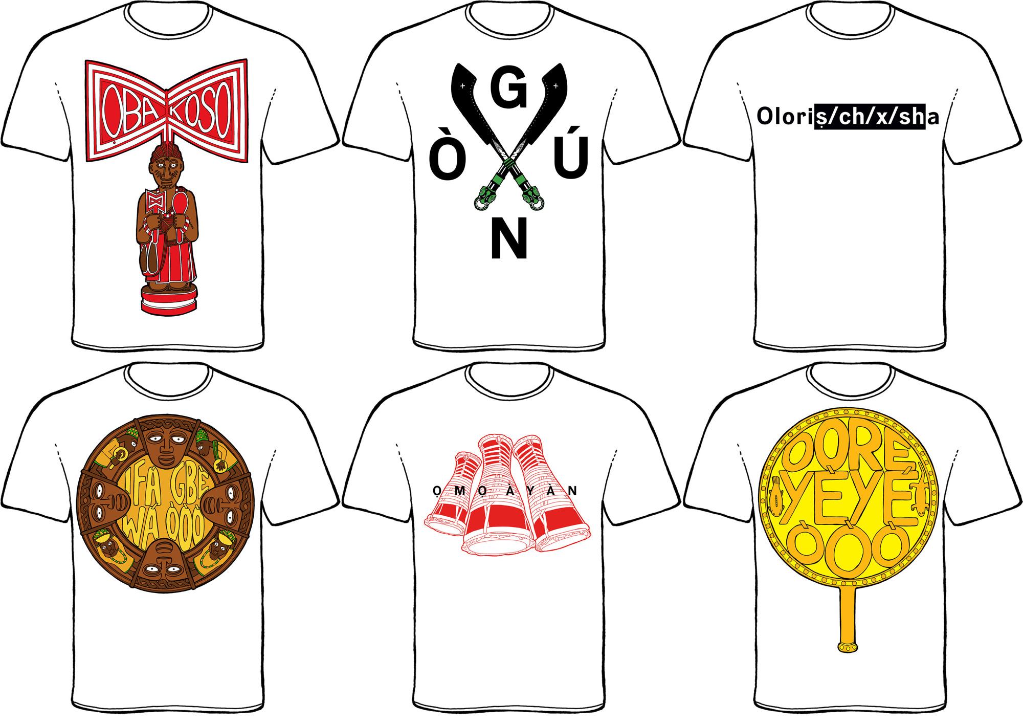 Some of the Yorùbá T-Shirts available in the Orisha Image  Online Shop .©Orisha Image