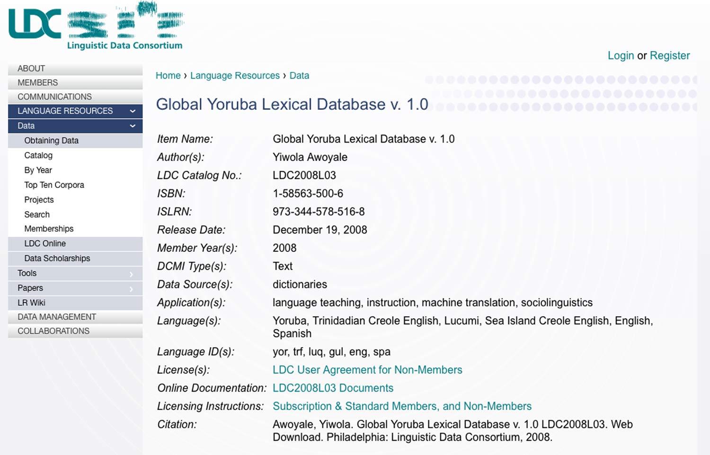 global yoruba lexical database