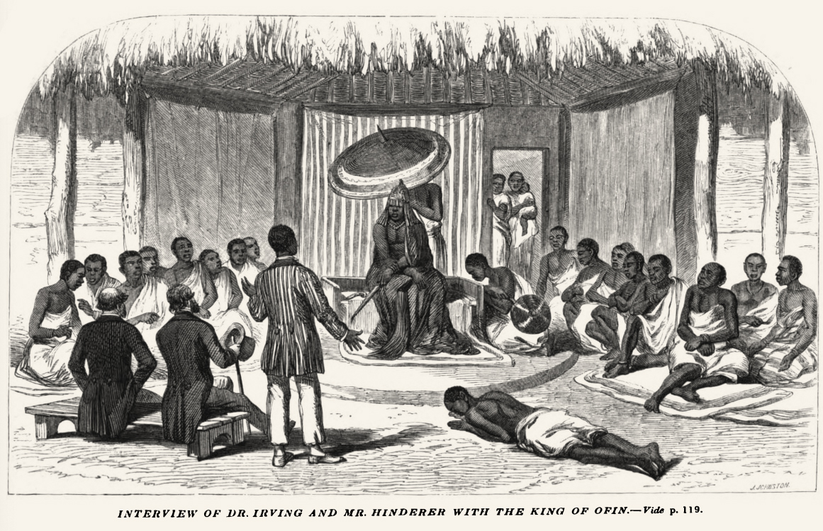 An illustration from the  Church Missionary Intelligencer  published in 1856. A visit of the missionaries and their translator, probably a Saro (Sierra-Leonean returned Yorùbá speaker) at the palace of a Yorùbá King - in this case the King of the Ìjẹ̀bú. Image Public Domain.