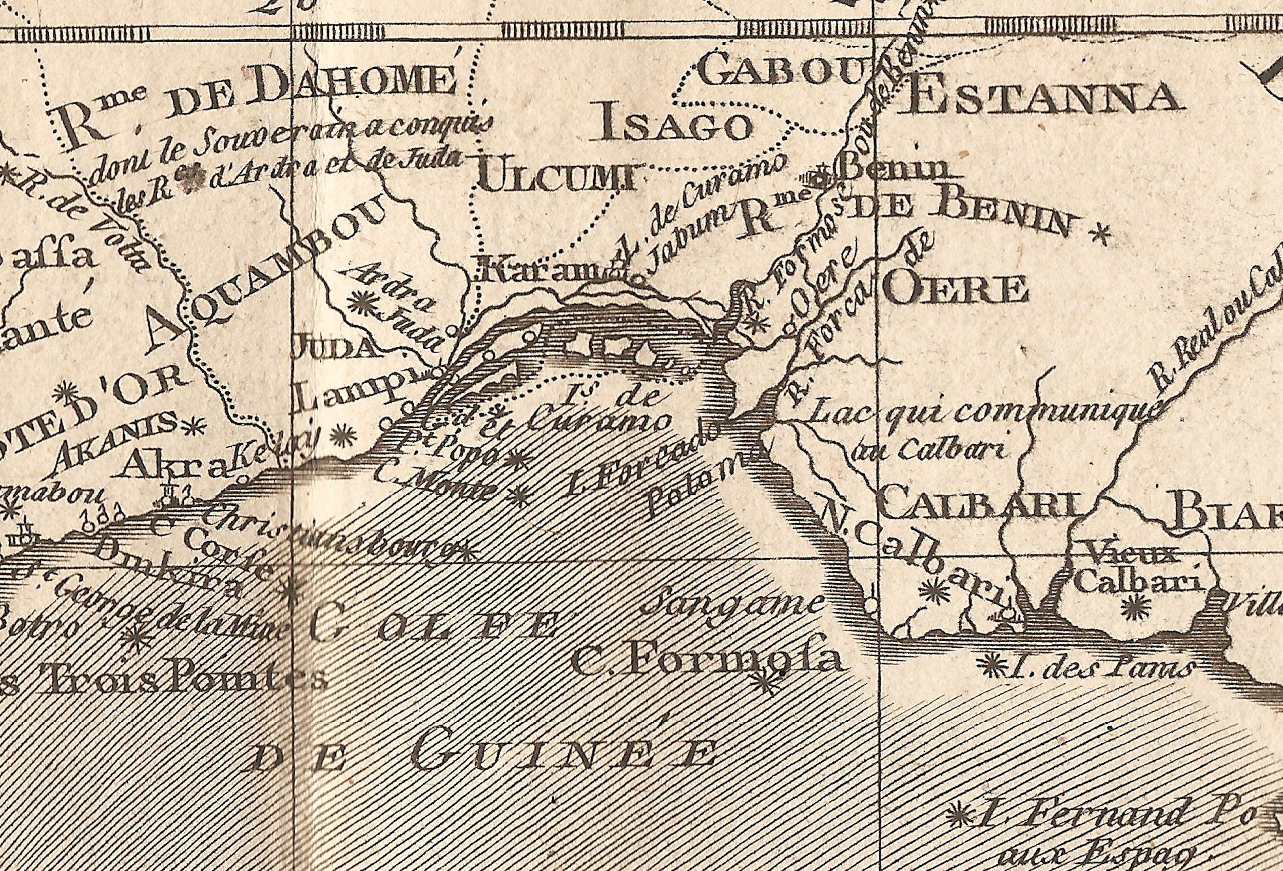 A detail of a historic map of the West African coast that I bought on Ebay for 30 Euros. Here you have various categories for slaves: Arará/Rada from Ardra (Allada), Carabalí from Calbari (Calabar), Lukumí from Ulcumi, etc… even the Àgùdà, Brazilian and Cuban returnees in Yorùbá language, have their name from a port: here written Juda, Ajuda, (Whydah). © Orisha Image