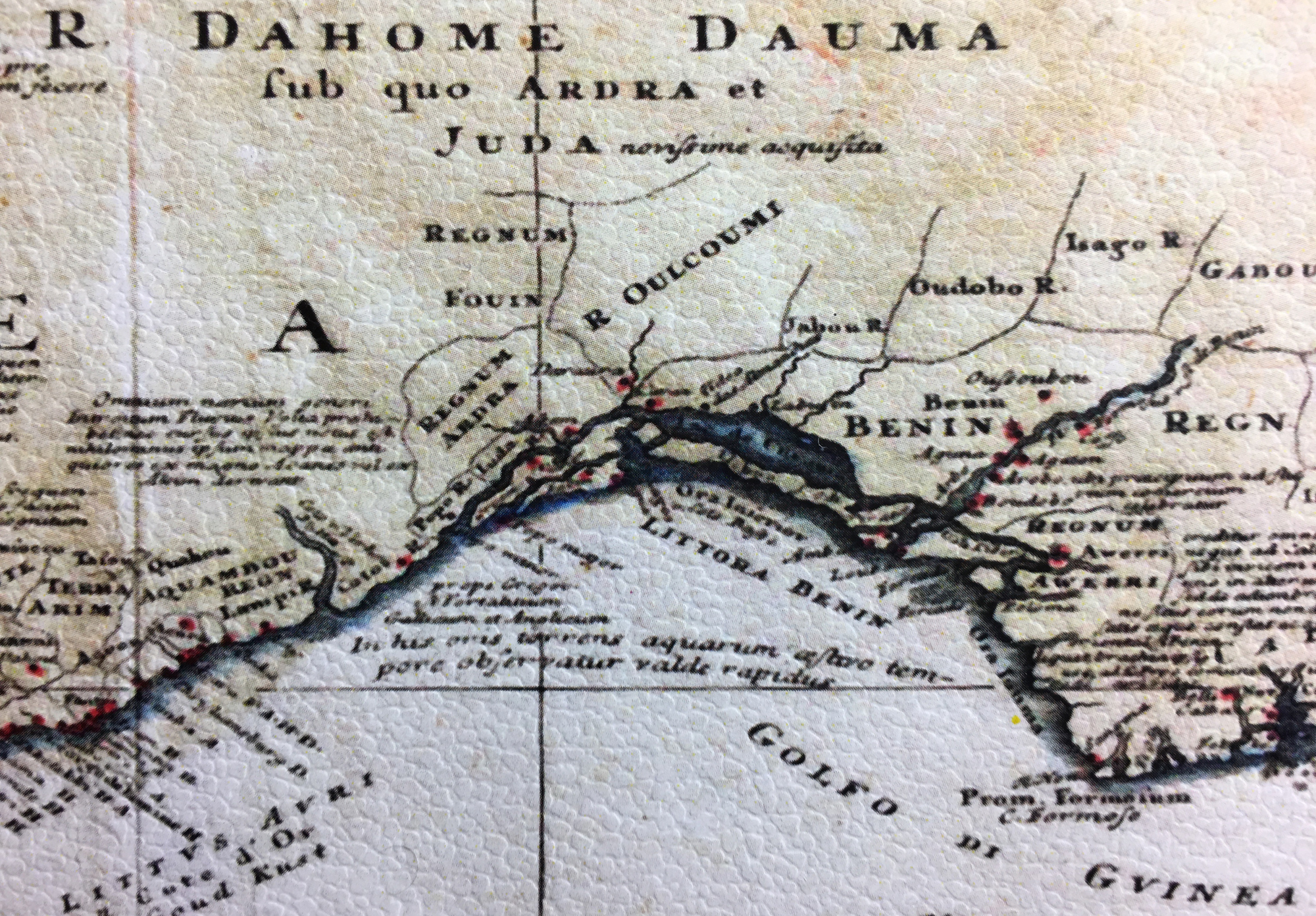 A map from 1743 by Homann Heirs: Guinea propria. I got a small (bad quality) reprint online. Lukumí is here written as Oulcoumi. Oudobo could be the town of Òṣogbo, Jabou is Ìjẹ̀bu, Ardra becomes Arará in Cuba, etc. A good high-res scan is online here at  Wikipedia .