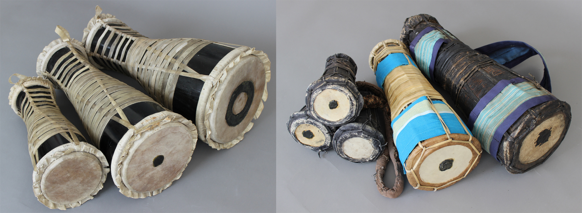 Left a Lukumí batá drum set from Havana, right a Yorùbá bàtá set from Ìbàdàn (the omele is not colored, I had to renew the skin, the omele meta as a set of three would not be played in an Òrìṣà context). There are other types of bàtá drums in Yorùbáland and Cuba, too. Both sets are original bàtá and I do not think of one being the offspring of the other! Watch out for the upcoming story! © Orisha Image