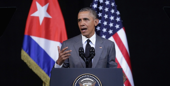 US President Barack Obama delivers remarks at the Gran Teatro in Havana, Cuba on 22 March 2016. (Photo: Chip Somodevilla/Getty Images)